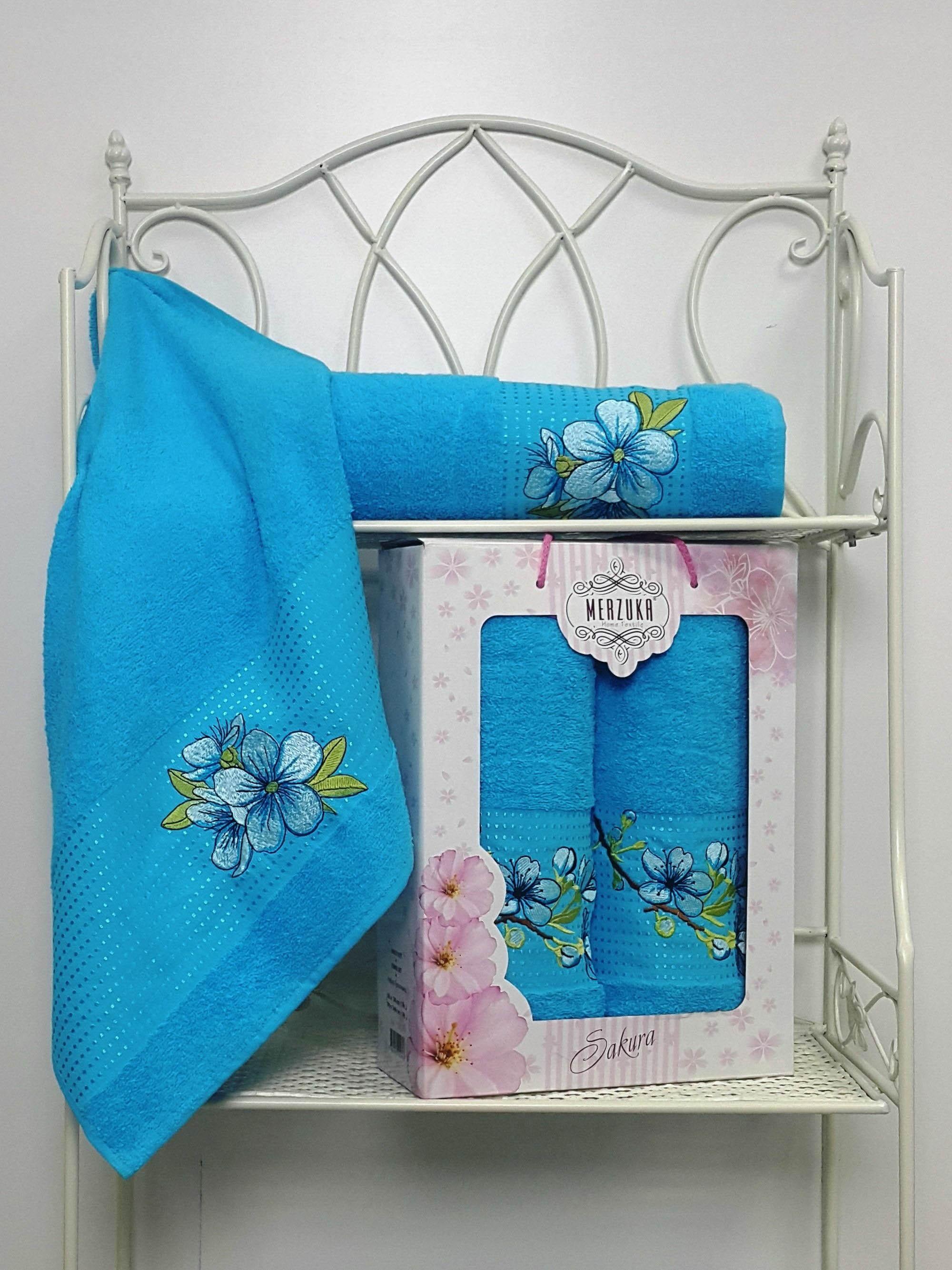 Полотенца Oran Merzuka Полотенце Sakura Цвет: Бирюзовый (Набор) набор из 3 полотенец merzuka sakura 50х90 2 70х140 8432 розовый