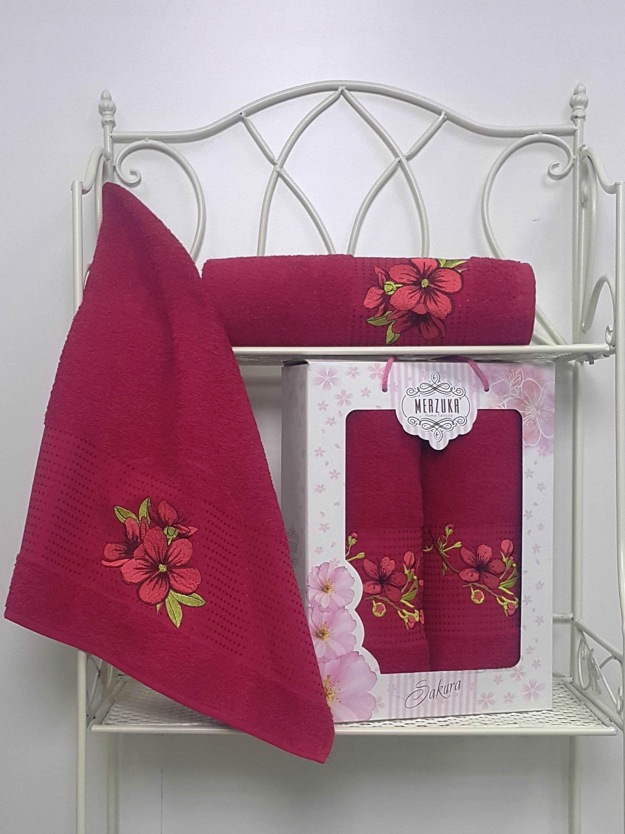 Полотенца Oran Merzuka Полотенце Sakura Цвет: Бордовый (Набор) набор из 3 полотенец merzuka sakura 50х90 2 70х140 8432 розовый
