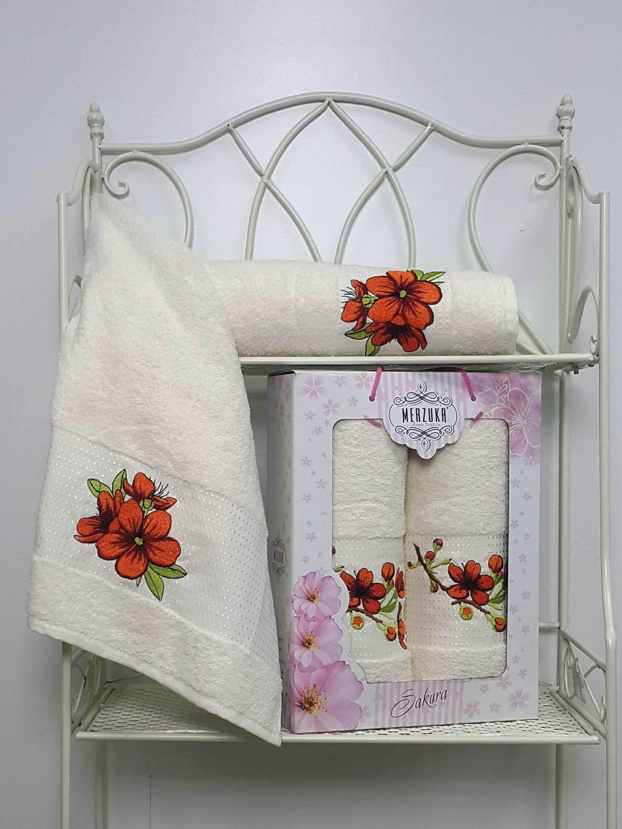 Полотенца Oran Merzuka Полотенце Sakura Цвет: Кремовый (Набор) набор из 3 полотенец merzuka sakura 50х90 2 70х140 8432 розовый