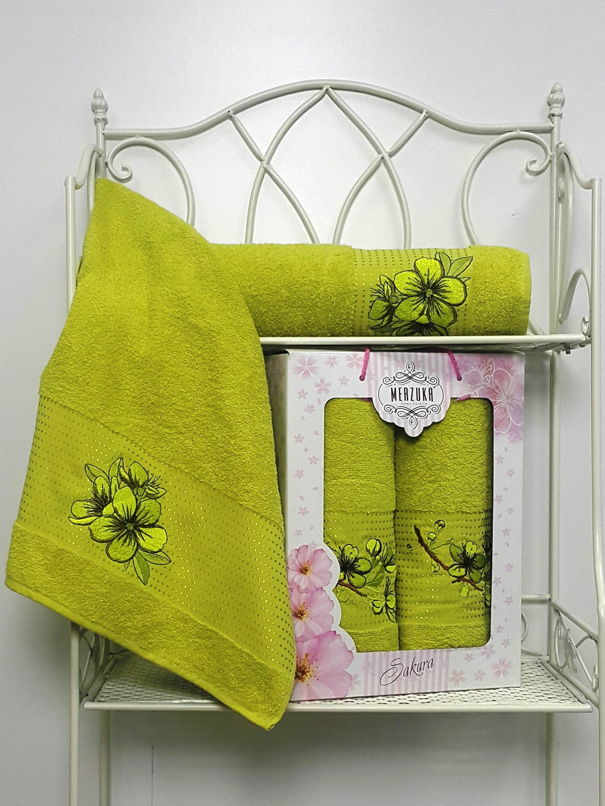 Полотенца Oran Merzuka Полотенце Sakura Цвет: Зелёный (Набор) набор из 3 полотенец merzuka sakura 50х90 2 70х140 8432 розовый
