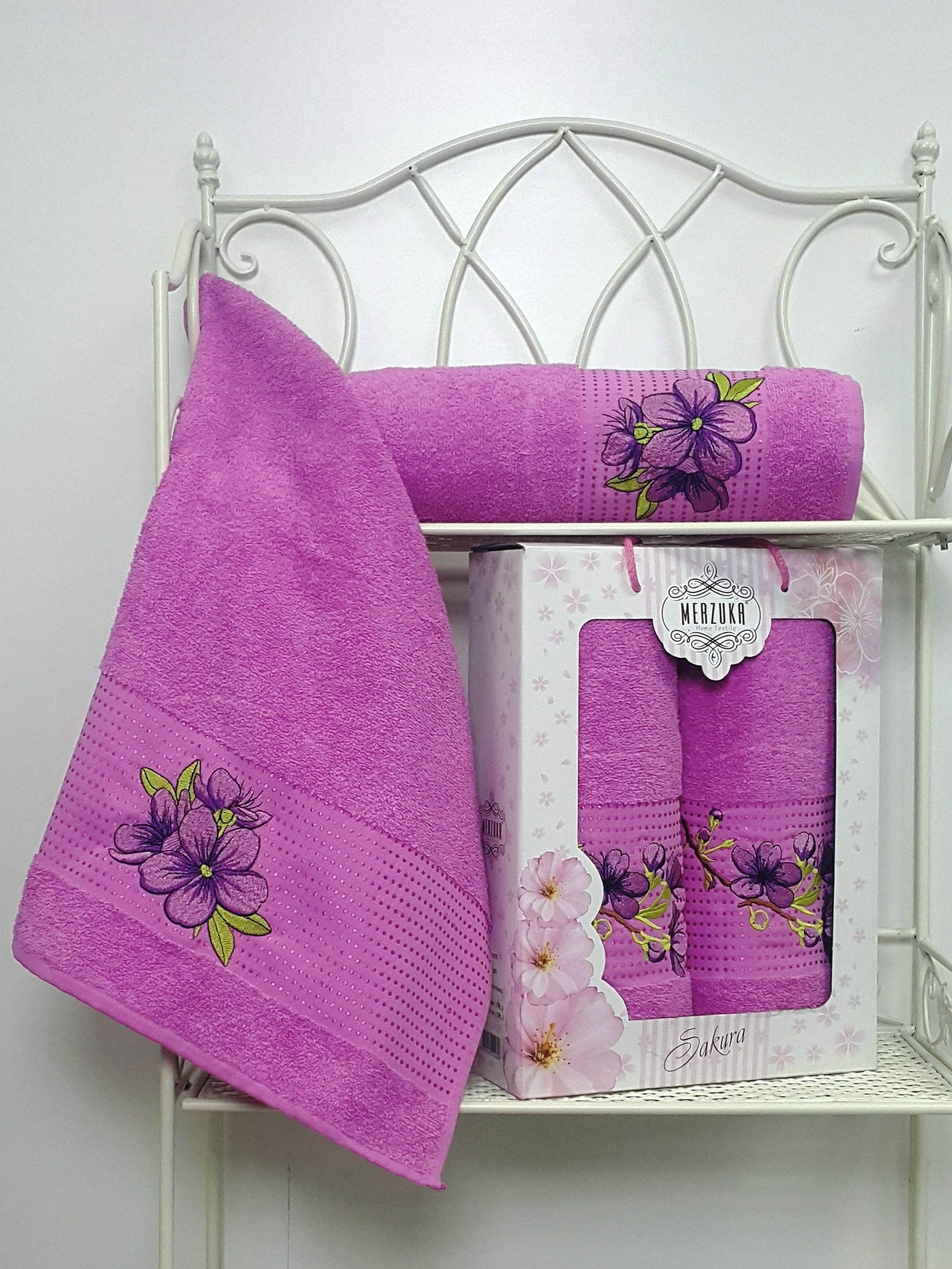 Полотенца Oran Merzuka Полотенце Sakura Цвет: Светло-Лиловый (Набор) набор из 3 полотенец merzuka sakura 50х90 2 70х140 8432 розовый
