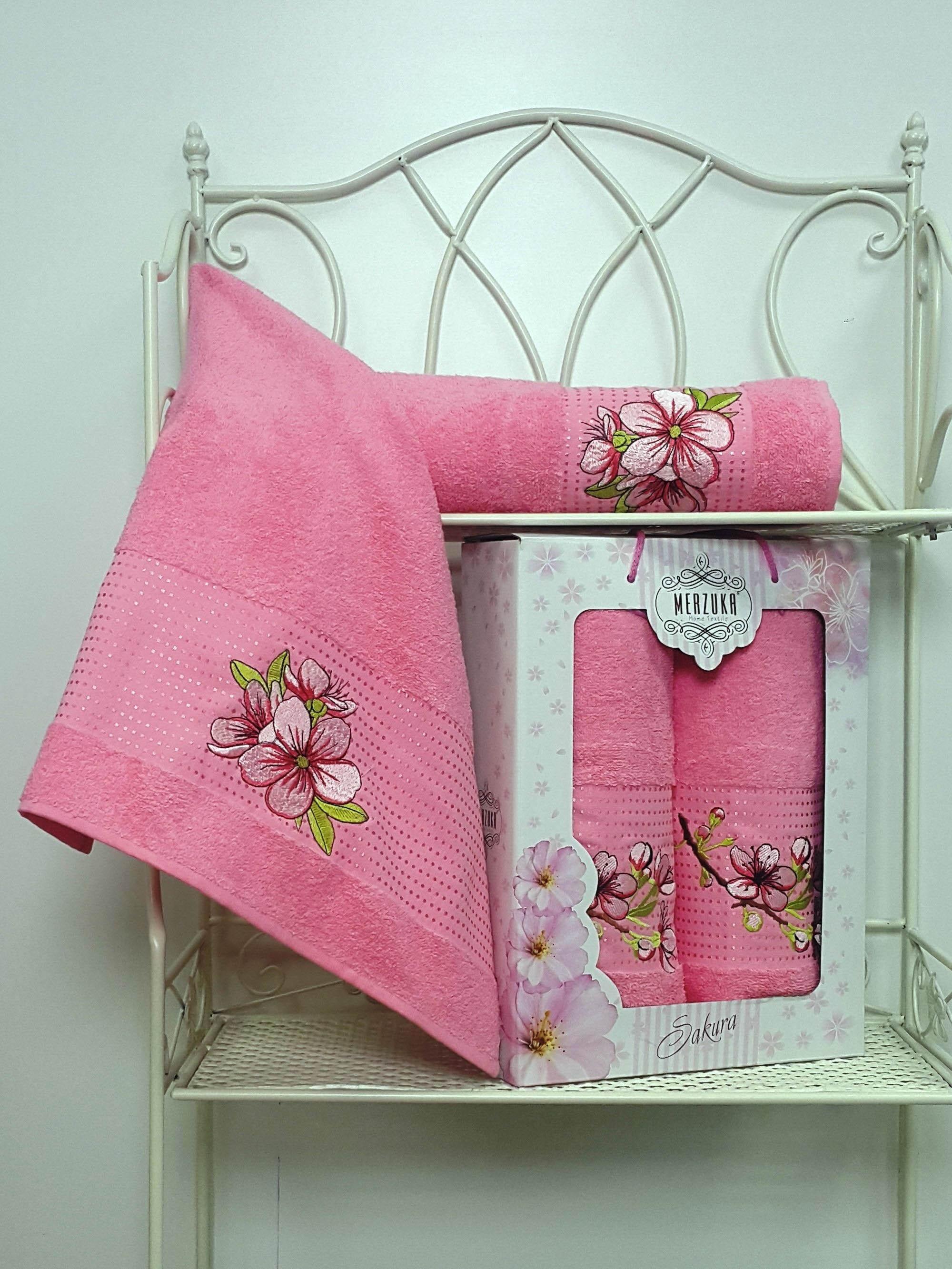 Полотенца Oran Merzuka Полотенце Sakura Цвет: Розовый (Набор) набор из 3 полотенец merzuka sakura 50х90 2 70х140 8432 розовый