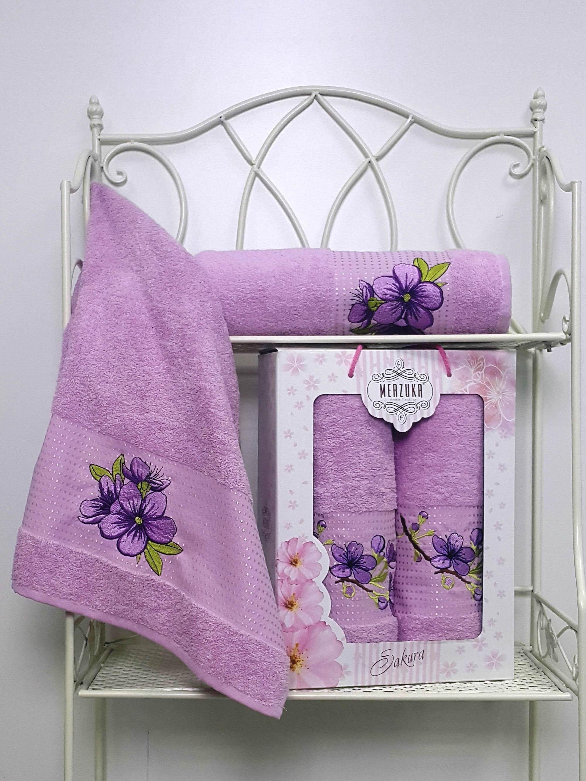Полотенца Oran Merzuka Полотенце Sakura Цвет: Сиреневый (Набор) набор из 3 полотенец merzuka sakura 50х90 2 70х140 8432 розовый