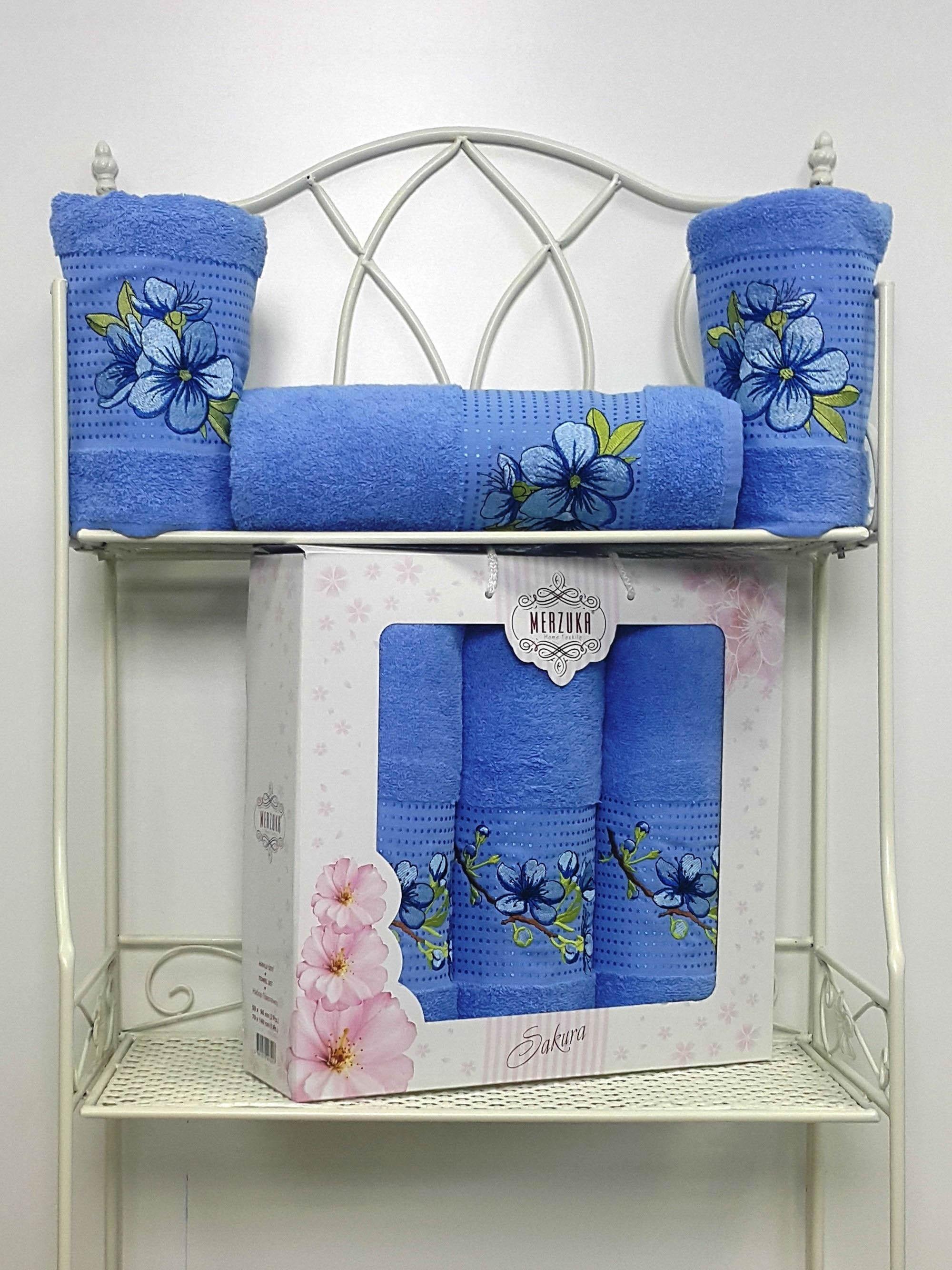 Полотенца Oran Merzuka Полотенце Sakura Цвет: Голубой (Набор) набор из 3 полотенец merzuka sakura 50х90 2 70х140 8432 розовый