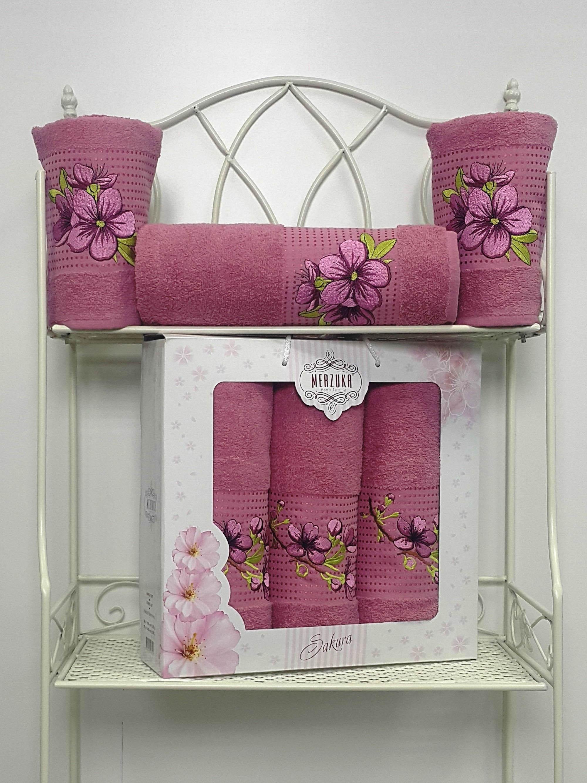 Полотенца Oran Merzuka Полотенце Sakura Цвет: Тёмно-Розовый (Набор) набор из 3 полотенец merzuka sakura 50х90 2 70х140 8432 розовый