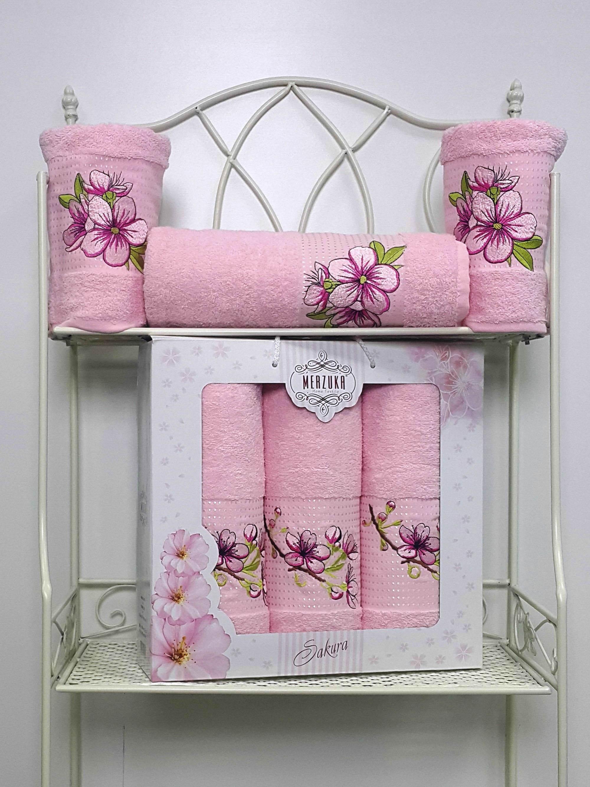 Полотенца Oran Merzuka Полотенце Sakura Цвет: Светло-Розовый (Набор) набор из 3 полотенец merzuka sakura 50х90 2 70х140 8432 розовый