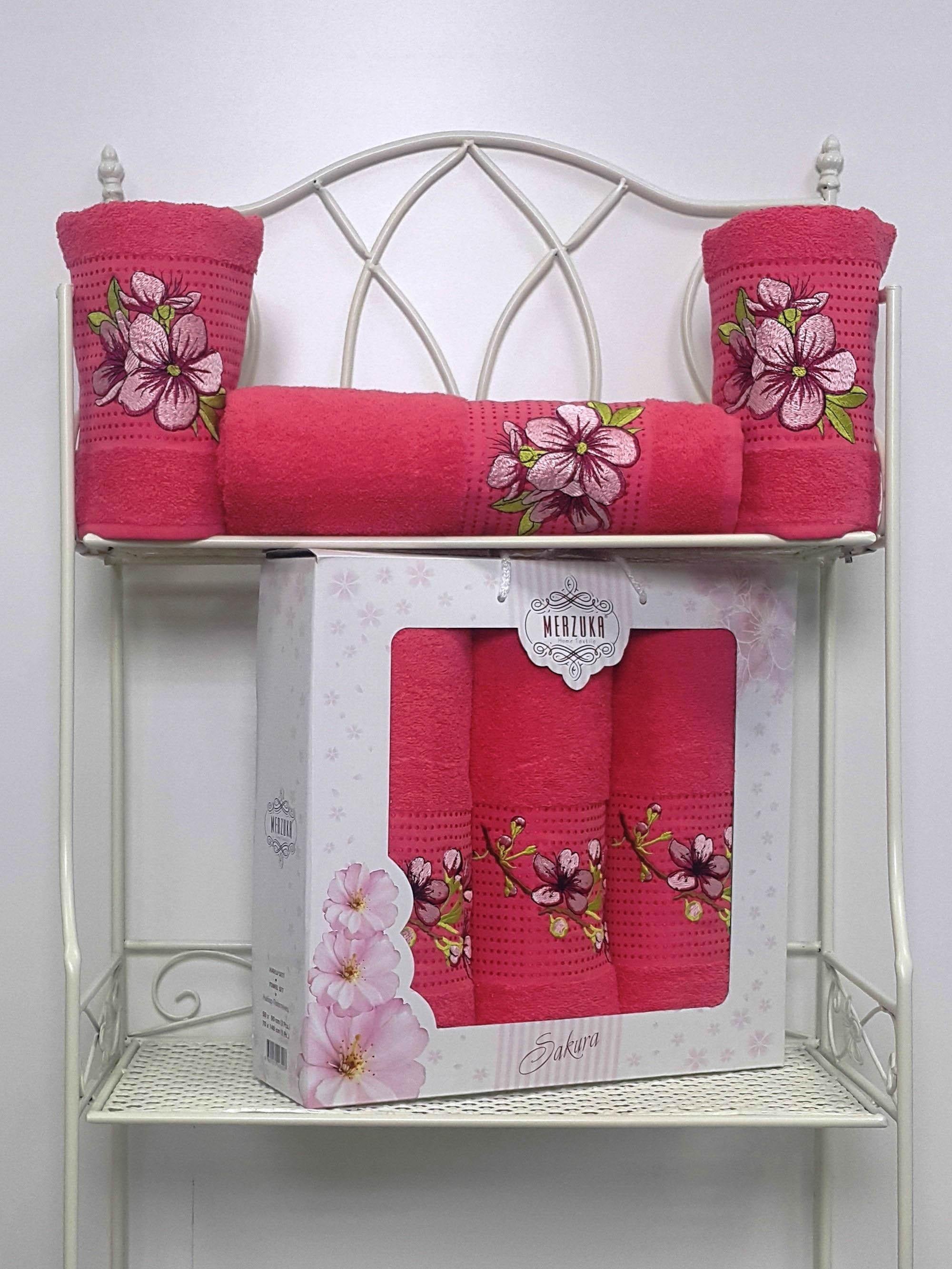 Полотенца Oran Merzuka Полотенце Sakura Цвет: Малиновый (Набор) набор из 3 полотенец merzuka sakura 50х90 2 70х140 8432 розовый