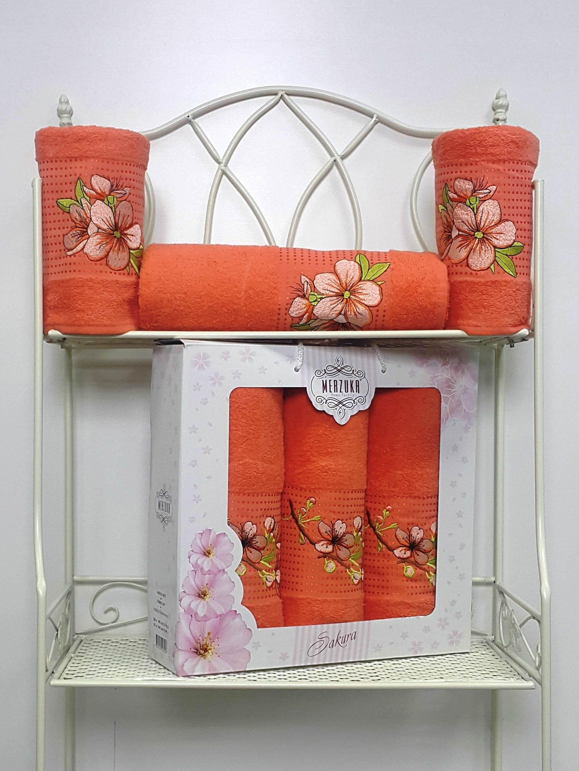 Полотенца Oran Merzuka Полотенце Sakura Цвет: Оранжевый (Набор) набор из 3 полотенец merzuka sakura 50х90 2 70х140 8432 розовый