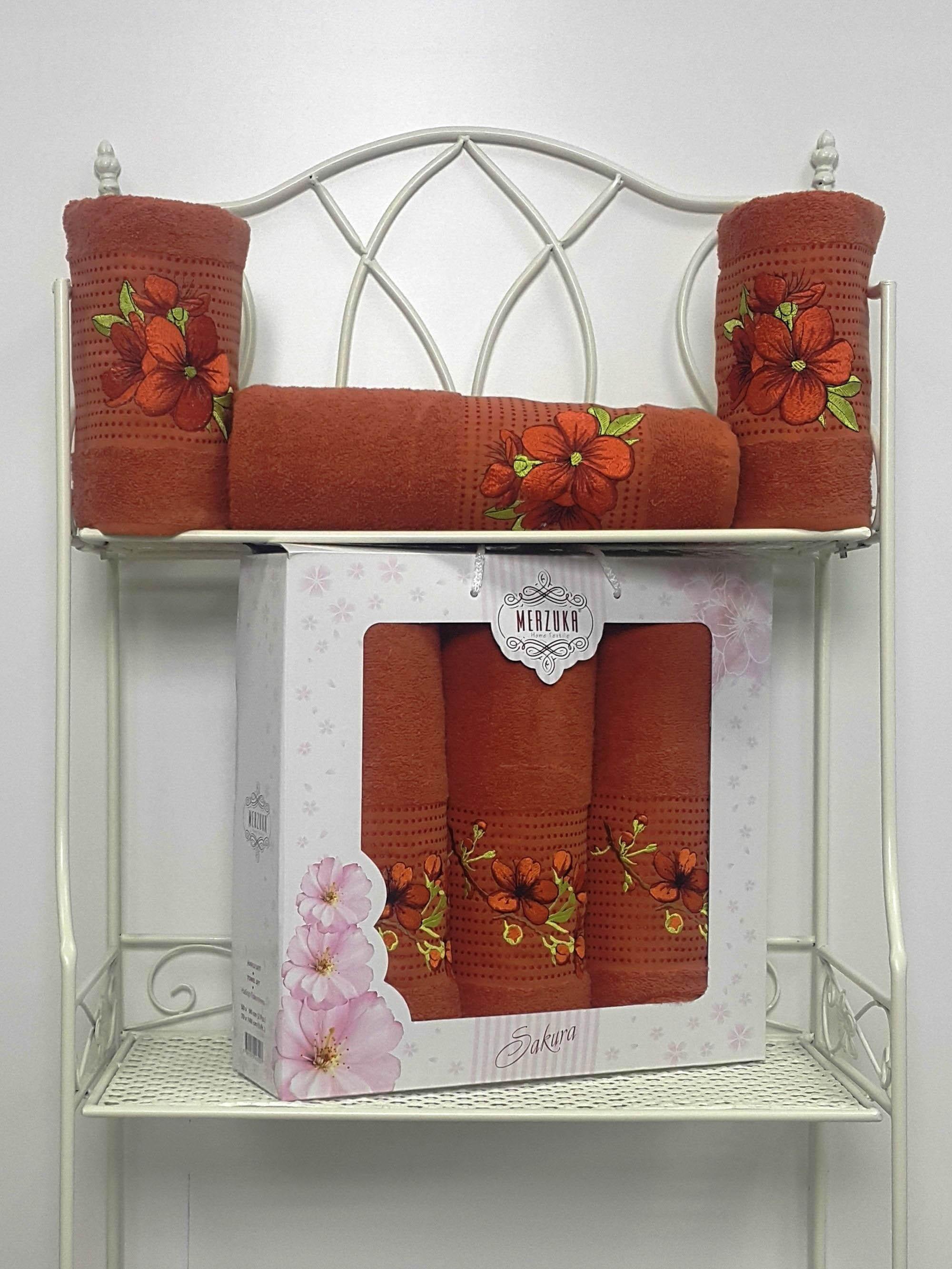 Полотенца Oran Merzuka Полотенце Sakura Цвет: Терракотовый (Набор) набор из 3 полотенец merzuka sakura 50х90 2 70х140 8432 розовый