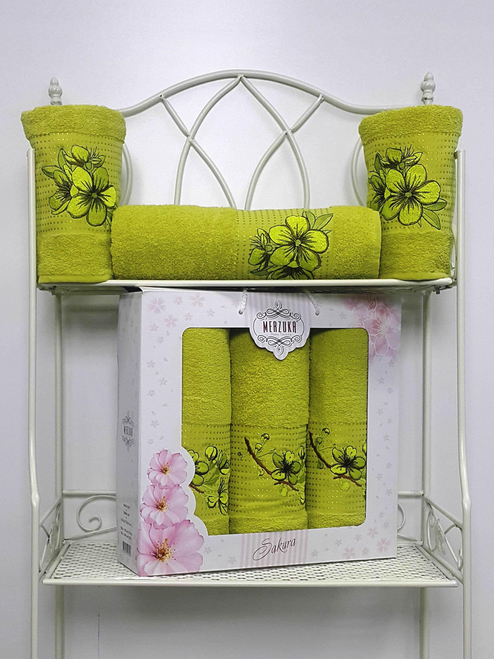 Полотенца Oran Merzuka Набор из 3 полотенец Sakura Цвет: Зелёный набор из 3 полотенец merzuka sakura 50х90 2 70х140 8432 розовый