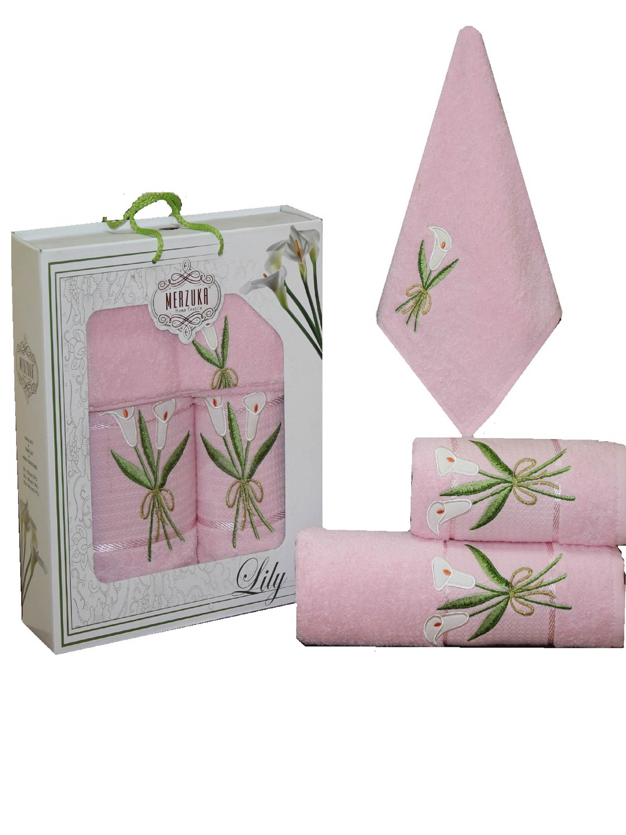 Полотенца Oran Merzuka Набор из 3 полотенец Zambak Цвет: Розовый набор из 3 полотенец merzuka sakura 50х90 2 70х140 8432 розовый
