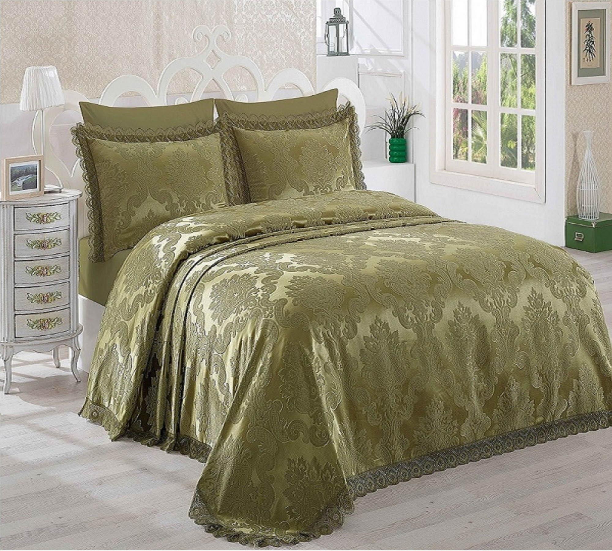 где купить Покрывало Dantela Vita Покрывало Ahsen Цвет: Зелёный (260х265 см) по лучшей цене