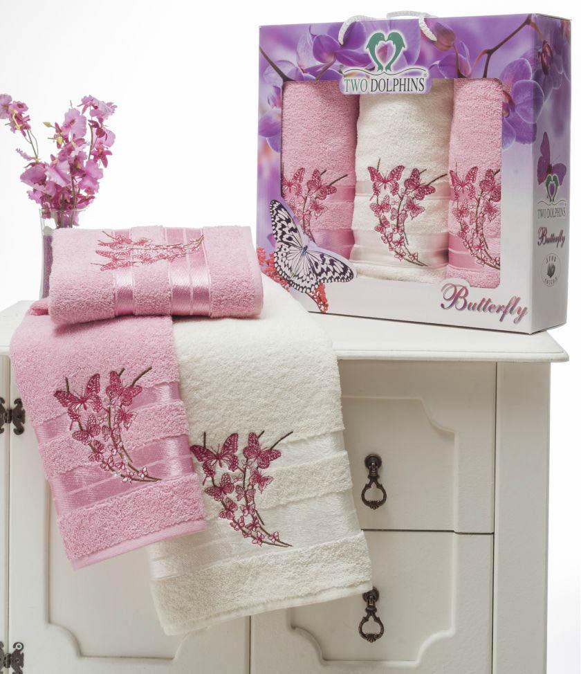 где купить Полотенца Two Dolphins Полотенце Butterfly Цвет: Розовый (Набор) по лучшей цене