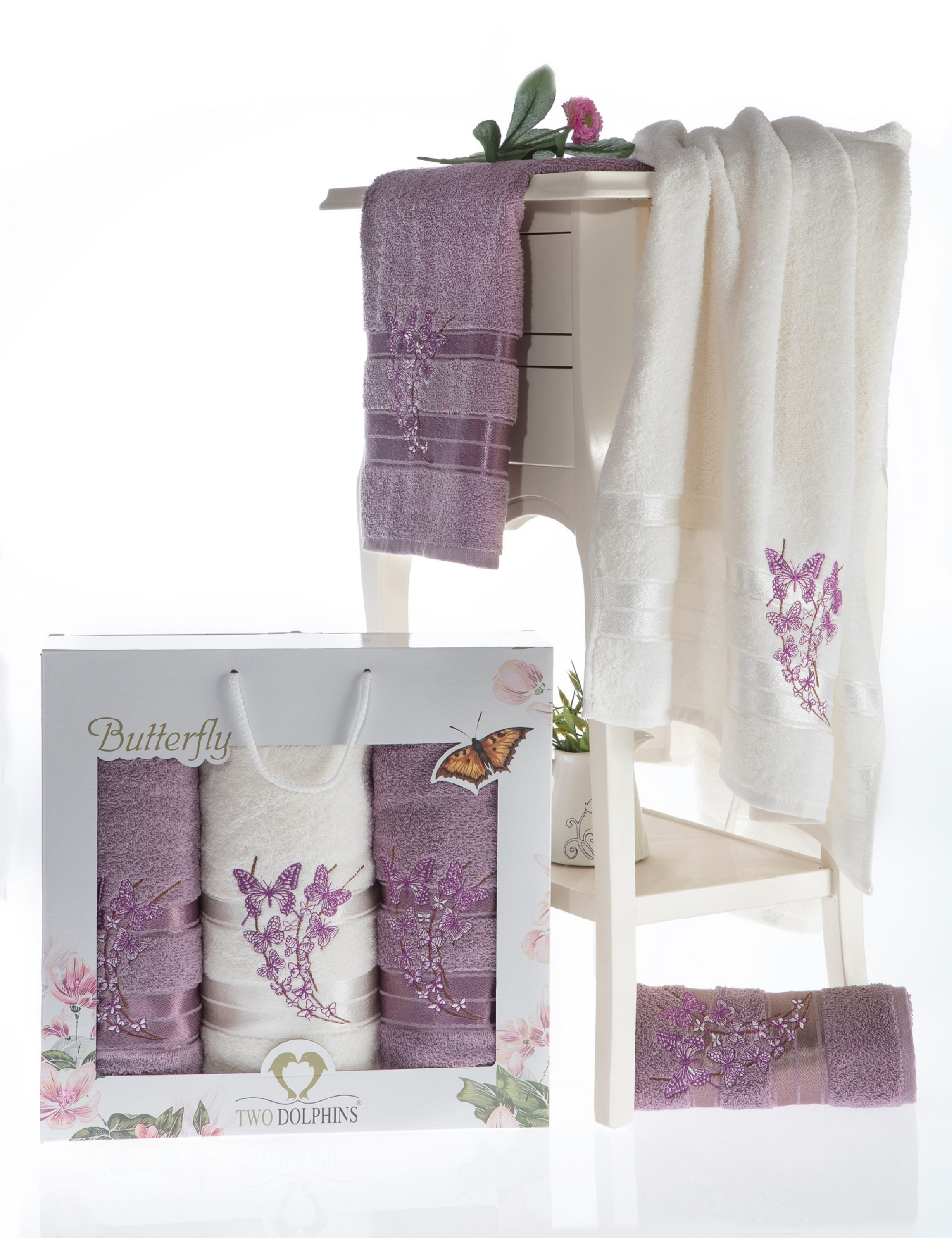 где купить Полотенца Two Dolphins Полотенце Butterfly Цвет: Баклажан (50х90 см - 2 шт,70х140 см) по лучшей цене