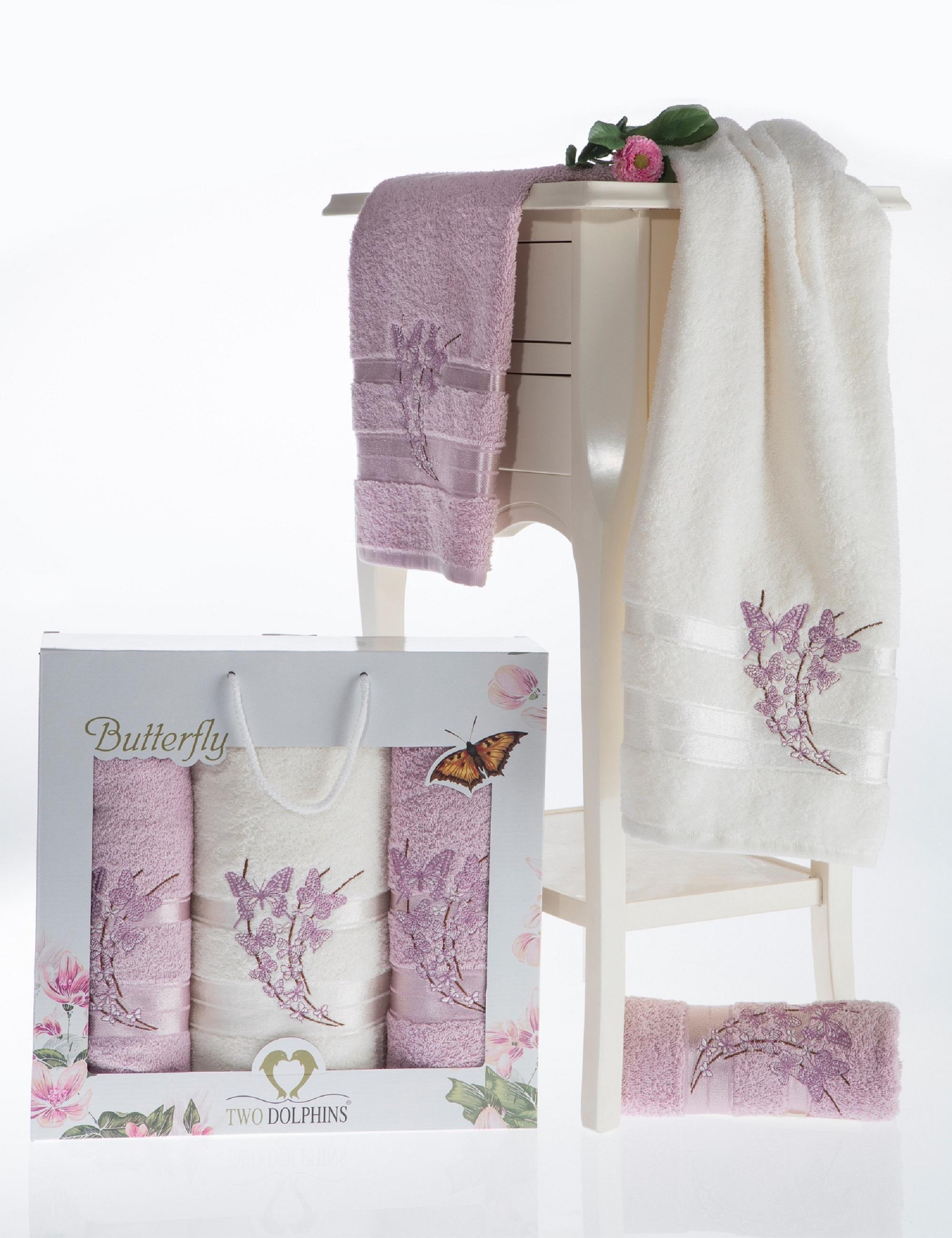 где купить Полотенца Two Dolphins Полотенце Butterfly Цвет: Светло-Розовый (50х90 см - 2 шт,70х140 см) по лучшей цене