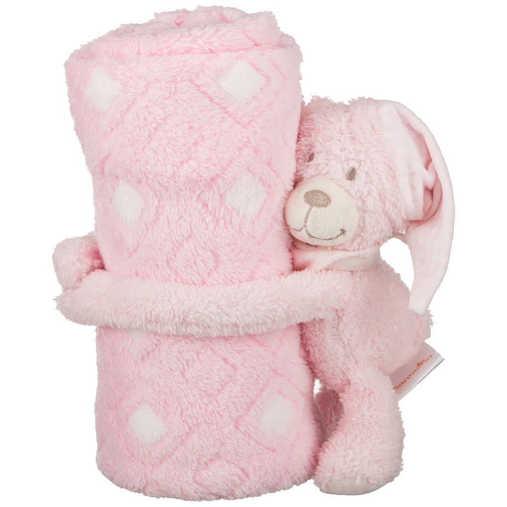 Детские покрывала, подушки, одеяла Santalino Детский плед с игрушкой Мишка Цвет: Розовый (75х100 см) плед детский арти м 75х100 см розовый мишка