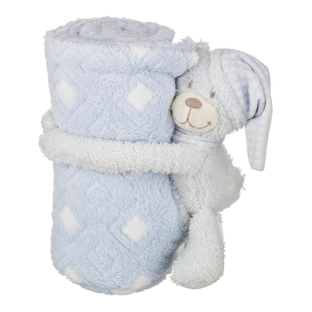Детские покрывала, подушки, одеяла Santalino Детский плед с игрушкой Мишка Цвет: Голубой (75х100 см) плед детский арти м 75х100 см розовый мишка