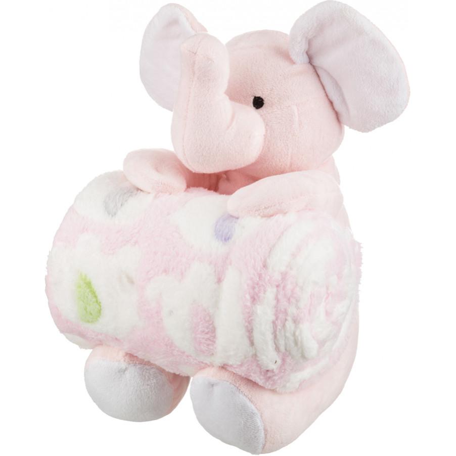 Детские покрывала, подушки, одеяла Santalino Детский плед с игрушкой Слоник Цвет: Розовый (75х100 см)