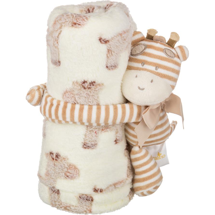 Детские покрывала, подушки, одеяла Santalino Детский плед с игрушкой Полосатый Жирафик (75х100 см) плед детский арти м 75х100 см розовый мишка