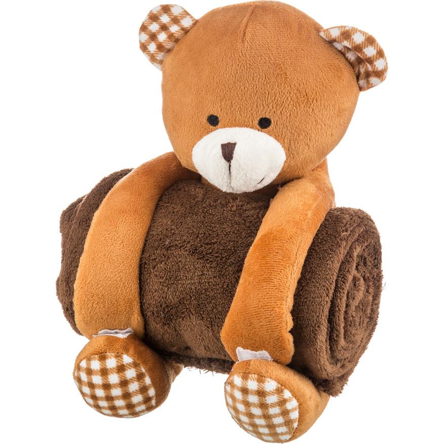 Детские покрывала, подушки, одеяла Santalino Детский плед с игрушкой Мишка В Клеточку (75х100 см) плед детский арти м 75х100 см розовый мишка