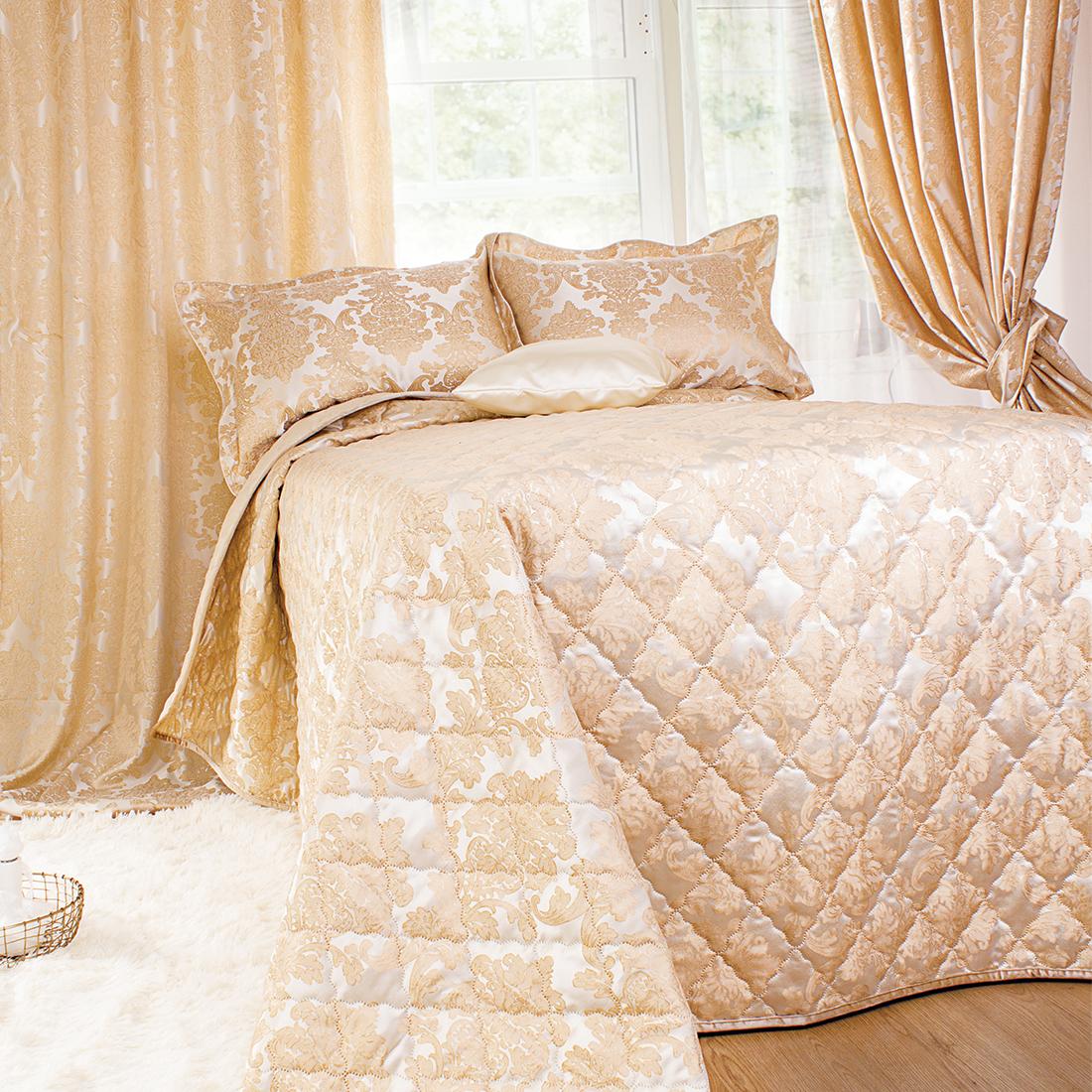 Шторы Мадмуазель Бато Лавуар Комплект штор с покрывалом Шато де Селин Цвет: Золотистый комплект штор с покрывалом для спальни в москве