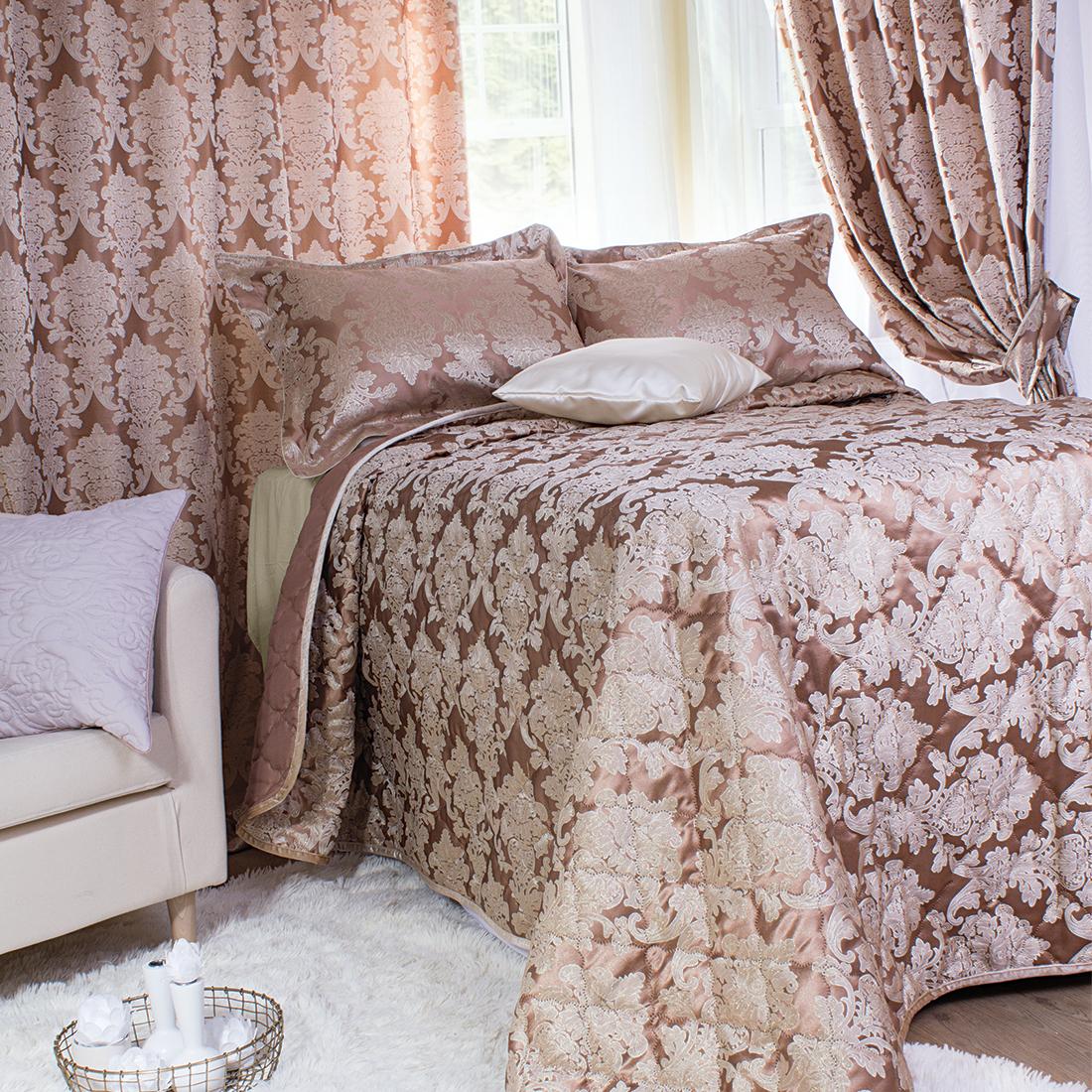 Шторы Мадмуазель Бато Лавуар Комплект штор с покрывалом Шато де Селин Цвет: Бежевый комплект штор с покрывалом для спальни в москве