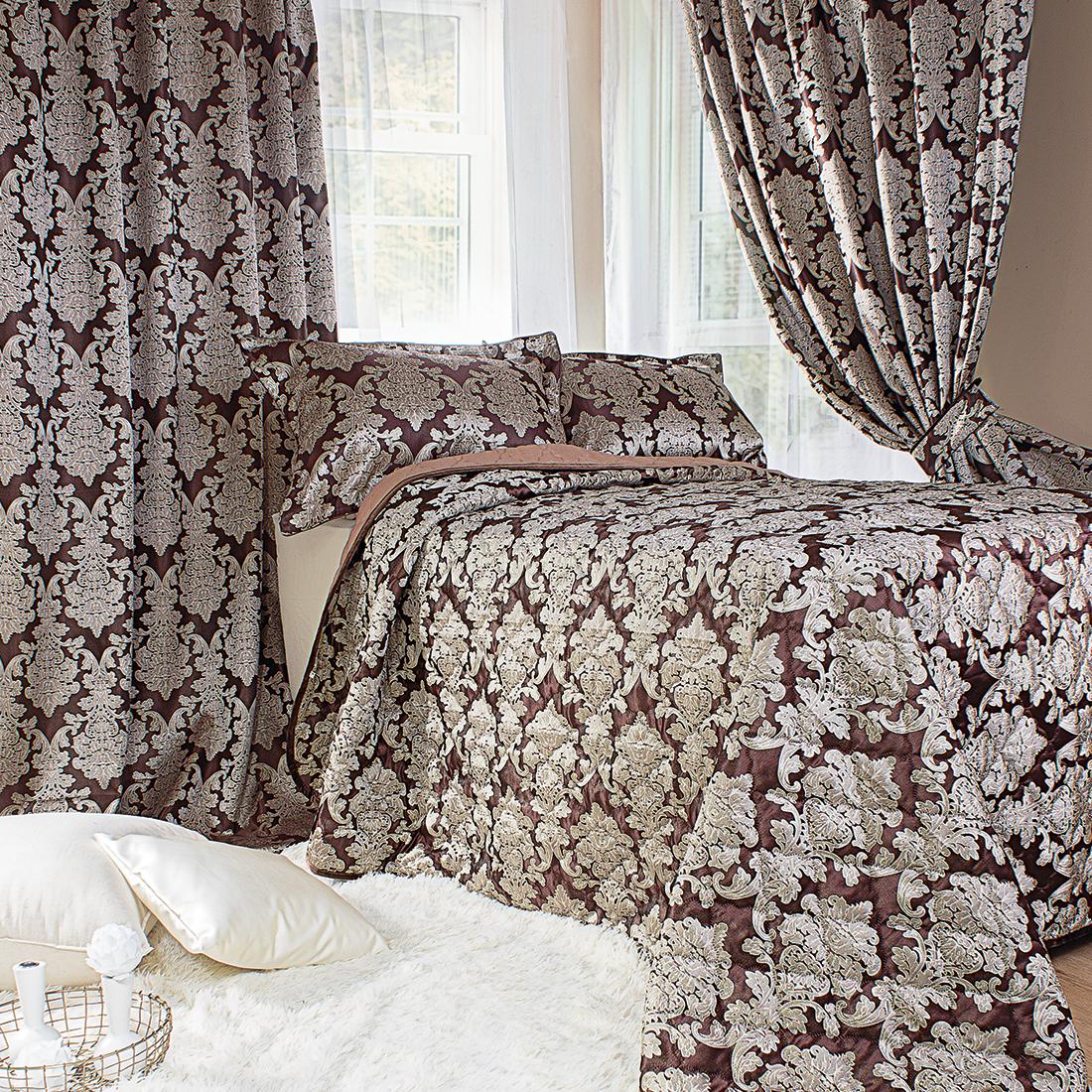 Шторы Мадмуазель Бато Лавуар Комплект штор с покрывалом Шато де Селин Цвет: Тёмный Шоколад комплект штор с покрывалом для спальни в москве