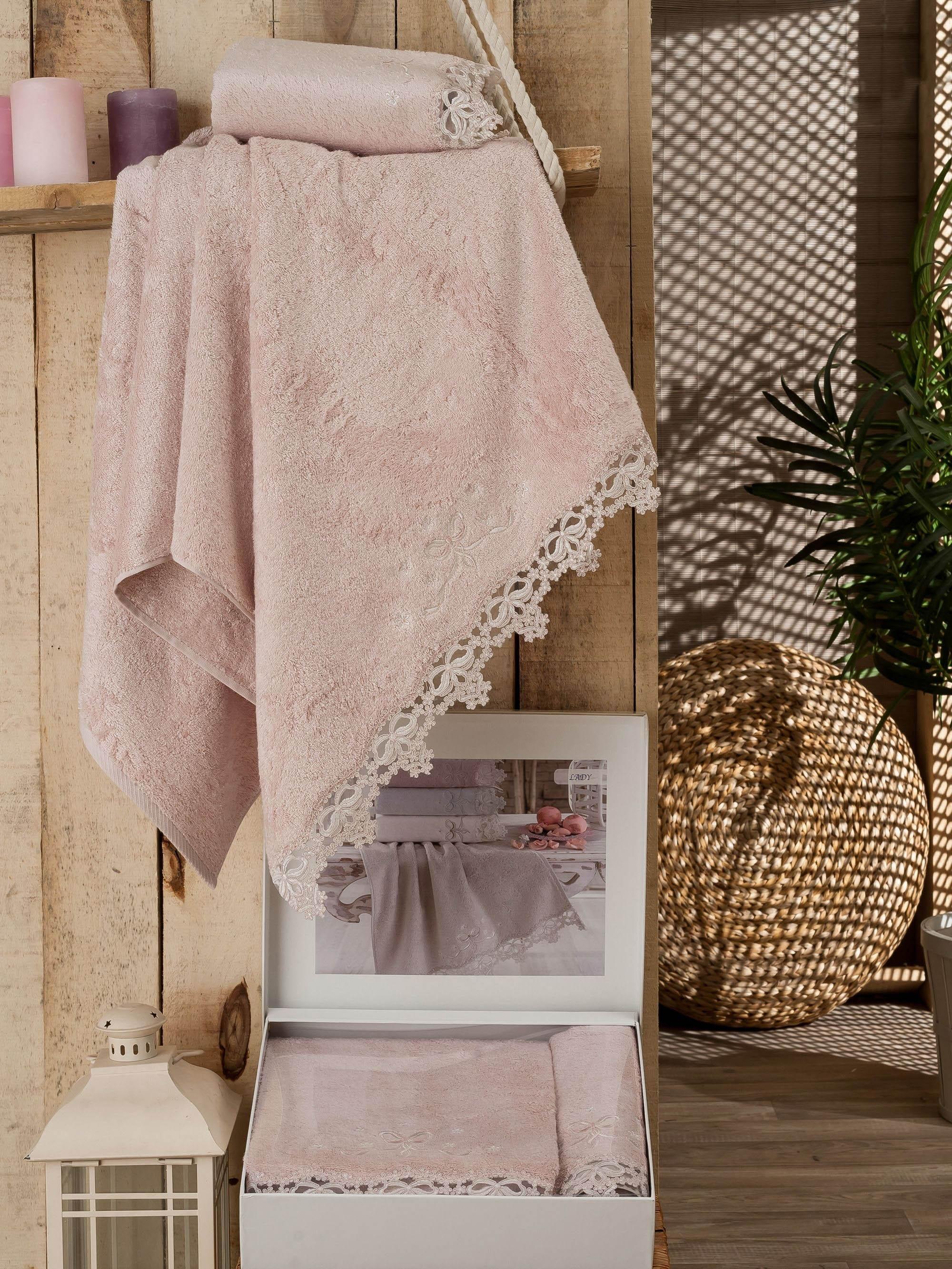Полотенца DO'n'CO Полотенце Lady Цвет: Пудра (Набор) набор из 3 полотенец merzuka sakura 50х90 2 70х140 8432 оранжевый