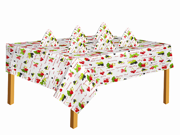 Скатерти и салфетки Best Home Kitchen Скатерть с салфетками Садовая Ягода (140х140 см) скатерти naturel скатерть с салфетками 6 шт