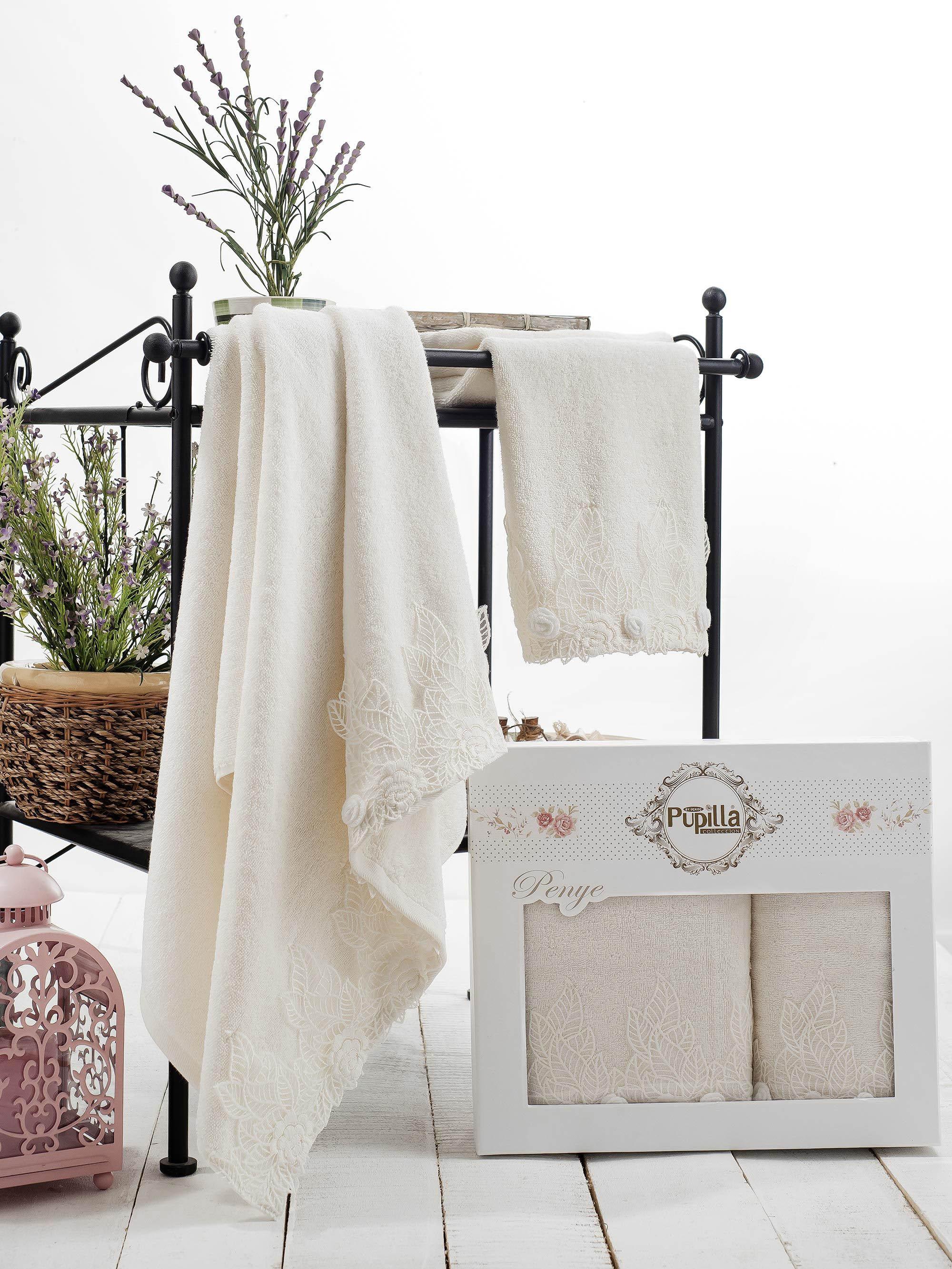 Полотенца Pupilla Набор из 2 полотенец Seren Цвет: Кремовый набор из 2 полотенец merzuka sakura 50х90 70х140 8430 кремовый