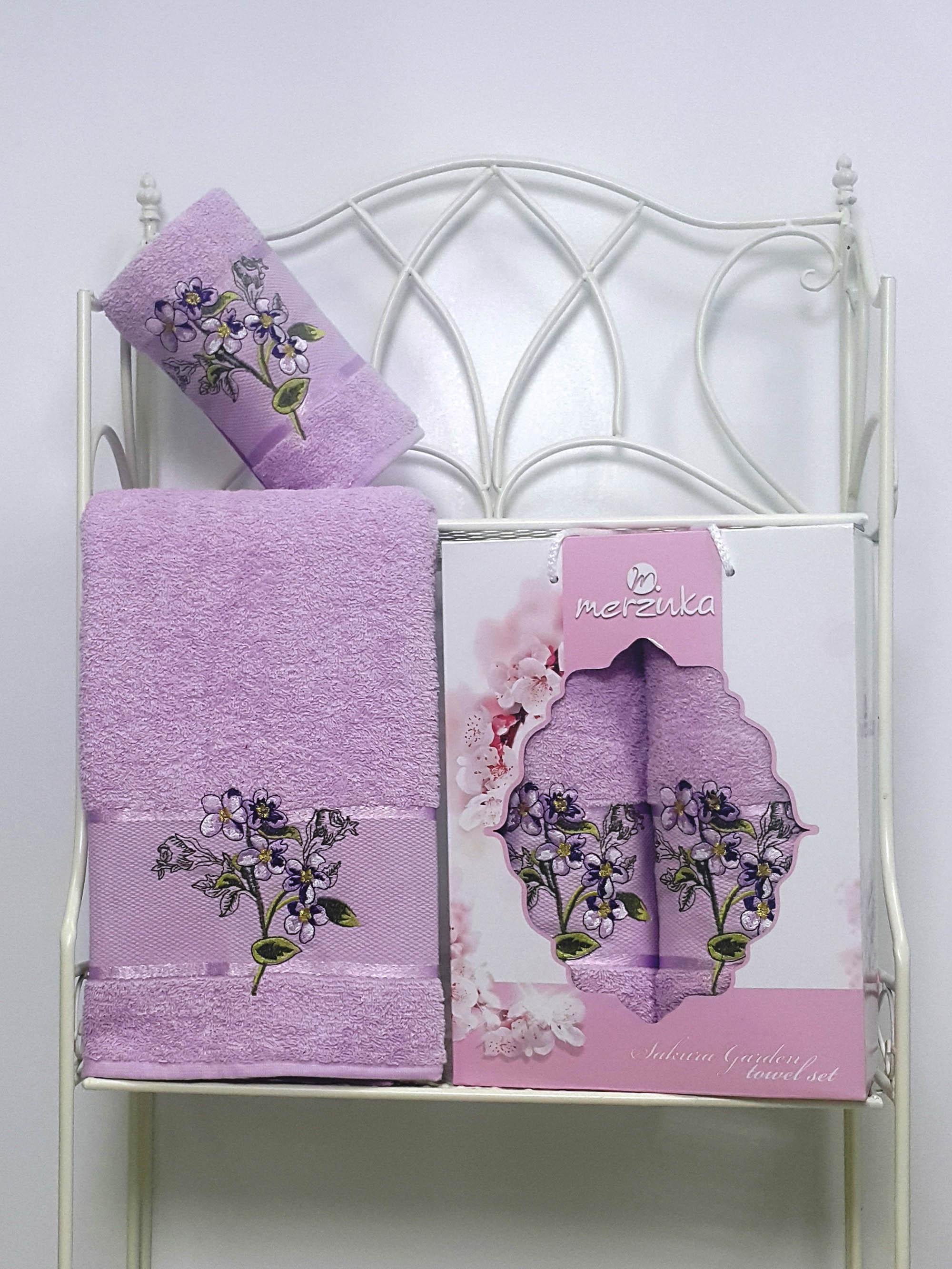 Полотенца Oran Merzuka Набор из 2 полотенец Sakura Garden Цвет: Сиреневый микровуаль garden выс 290см сиреневый
