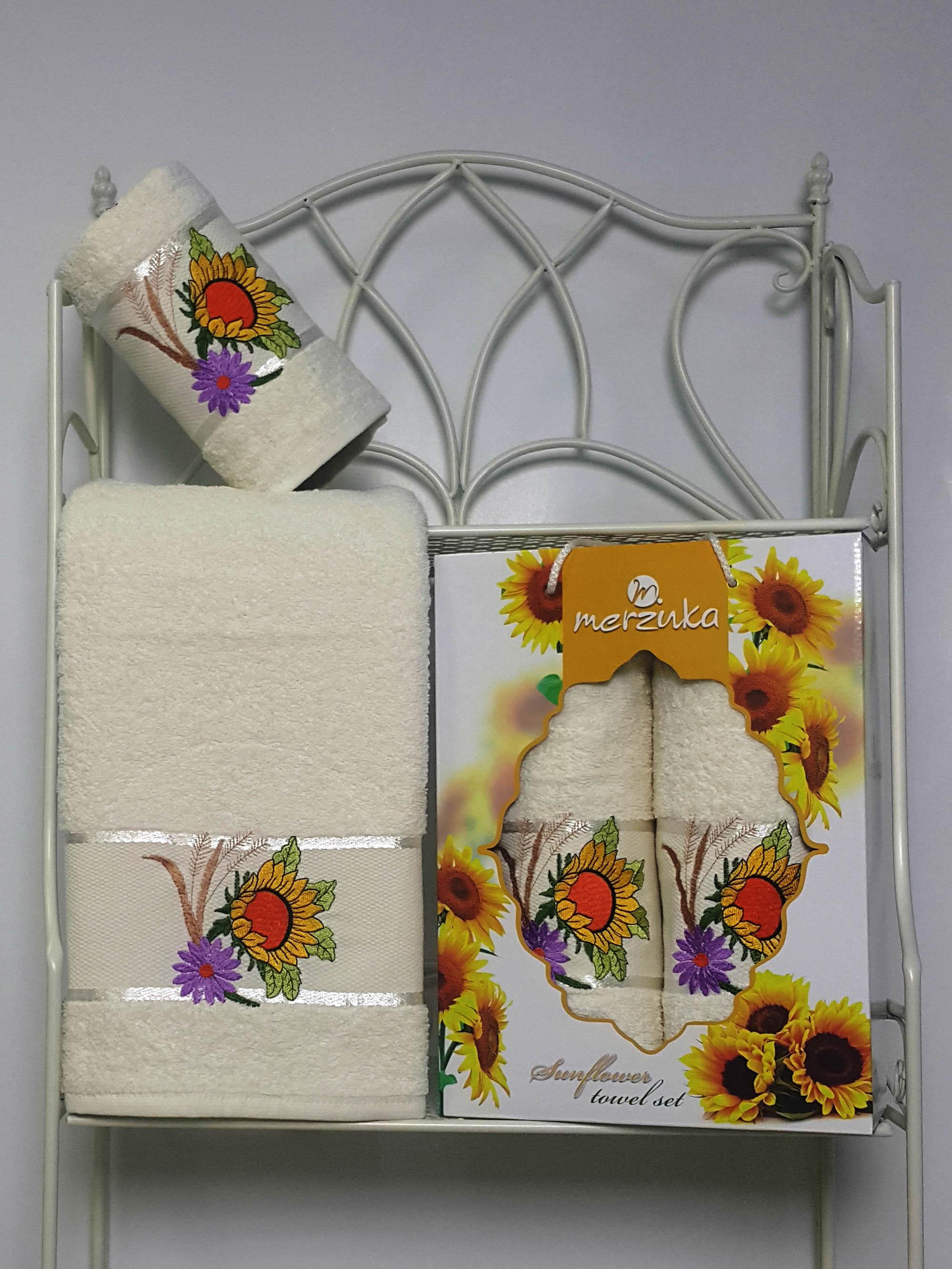 где купить Полотенца Oran Merzuka Набор из 2 полотенец Sunflower Цвет: Кремовый по лучшей цене
