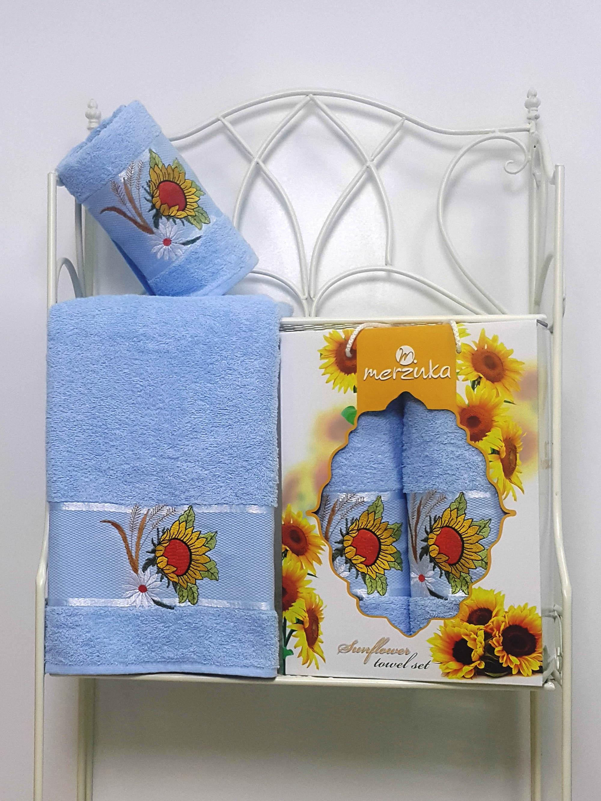 где купить Полотенца Oran Merzuka Набор из 2 полотенец Sunflower Цвет: Cветло-Голубой по лучшей цене