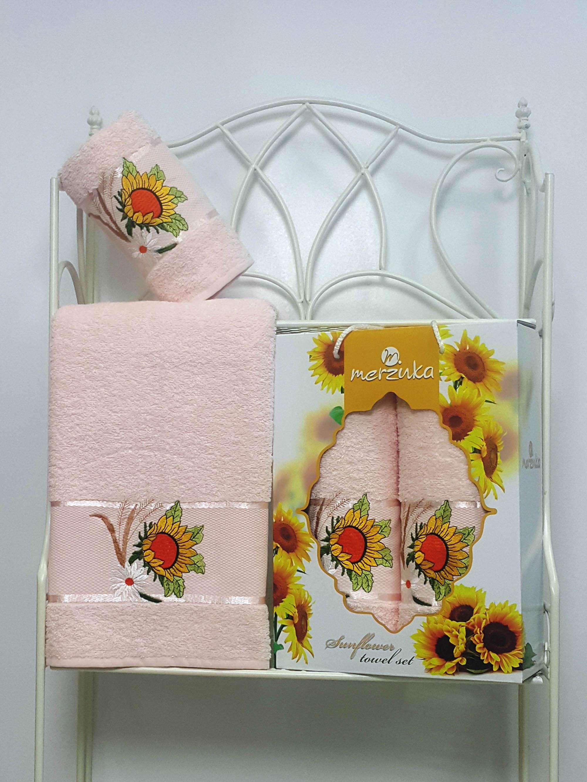 где купить Полотенца Oran Merzuka Набор из 2 полотенец Sunflower Цвет: Пудра по лучшей цене