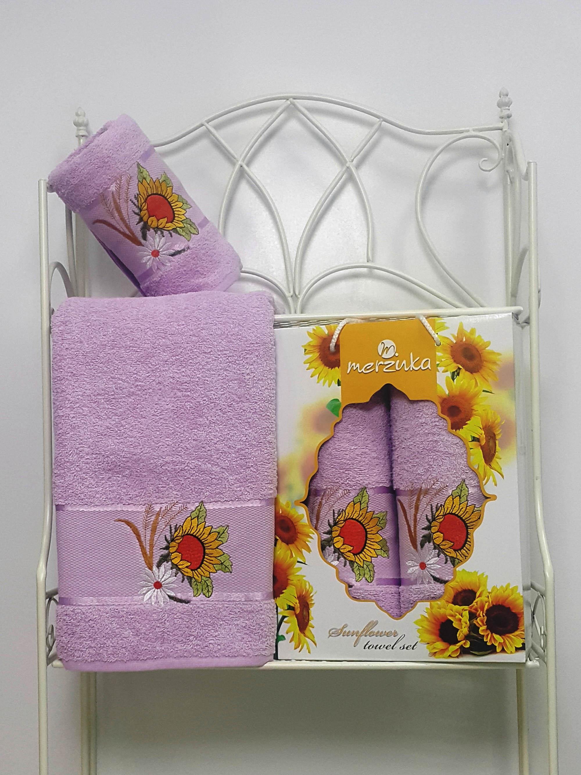 где купить Полотенца Oran Merzuka Набор из 2 полотенец Sunflower Цвет: Сиреневый по лучшей цене