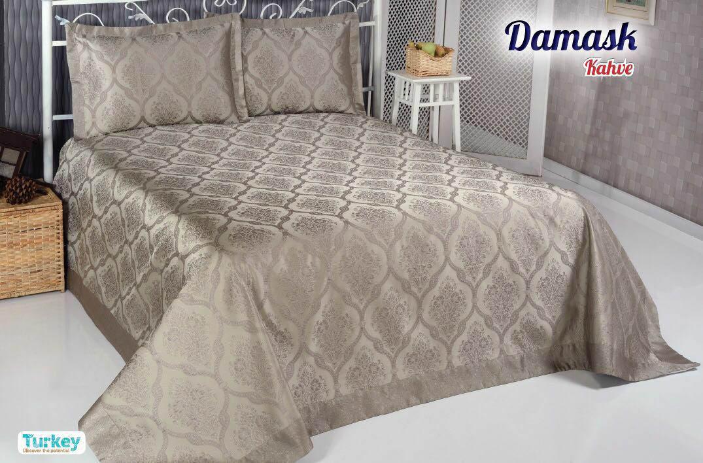 Покрывало DO'n'CO Покрывало Damask Цвет: Коричневый (250х270 см) покрывало karna вельсофт с вышивкой damask 160x220 см 1184141