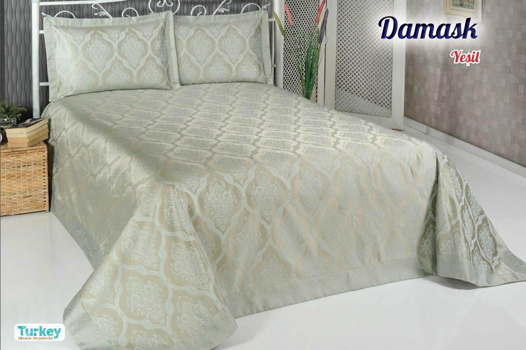 Покрывало DO'n'CO Покрывало Damask Цвет: Зелёный (250х270 см) покрывало karna вельсофт с вышивкой damask 160x220 см 1184141