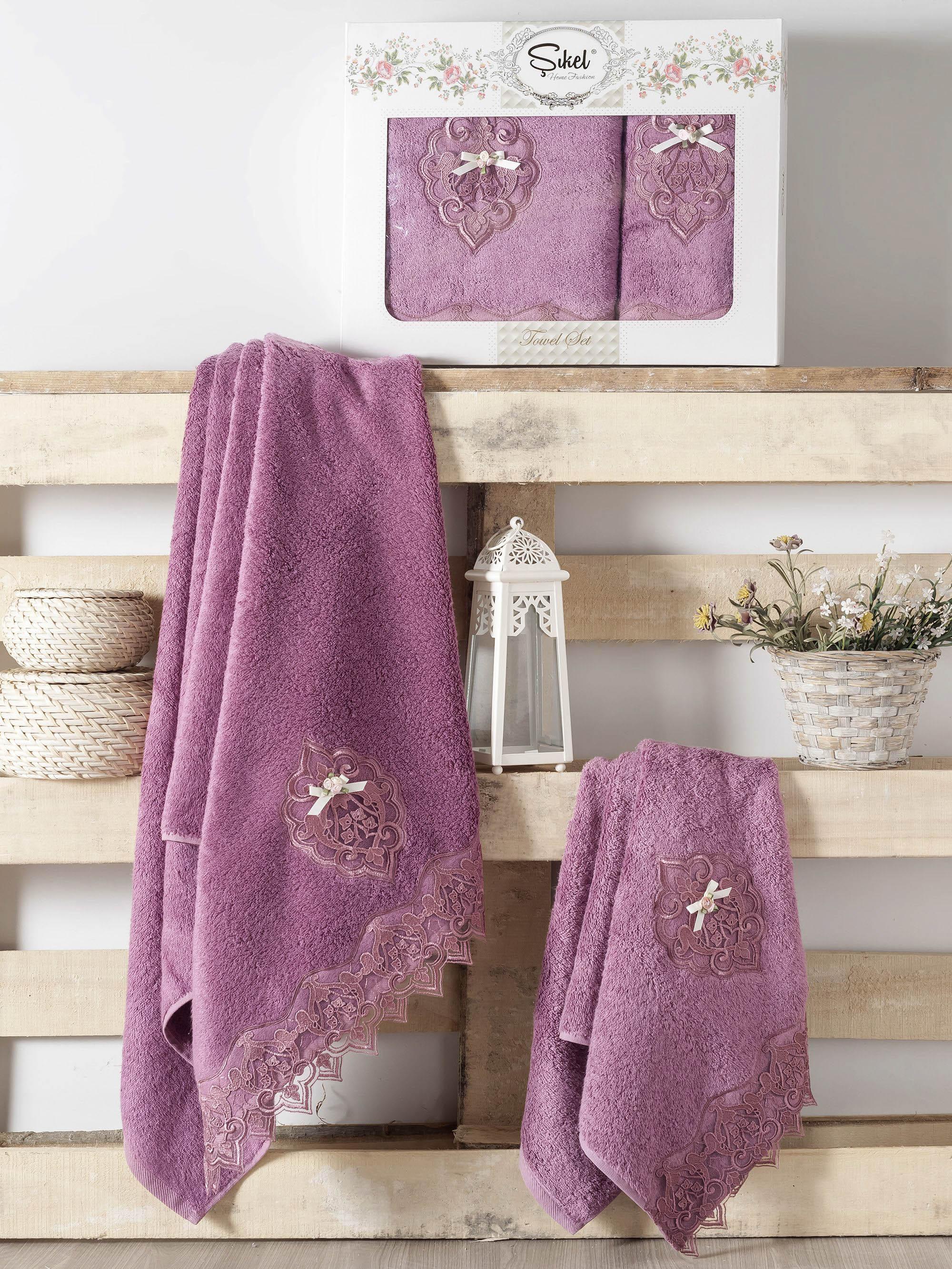 Полотенца Sikel Набор из 2 полотенец Palmira Цвет: Фиолетовый набор из 2 полотенец merzuka sakura 50х90 70х140 8430 кремовый