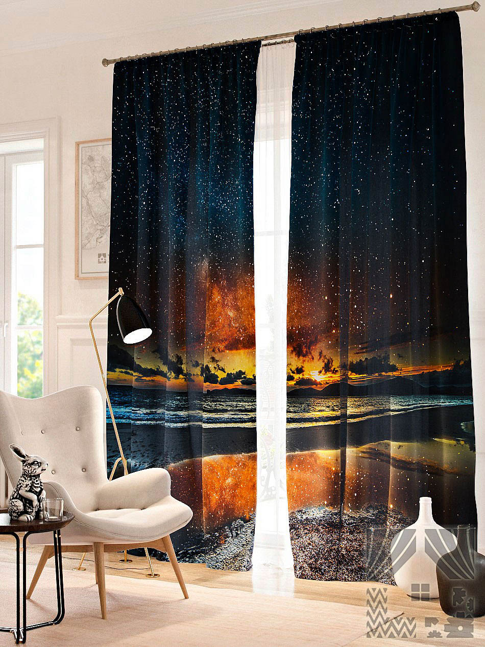 Шторы ТомДом Фотошторы Звездное небо над озером брюки котмаркот штанишки звездное небо