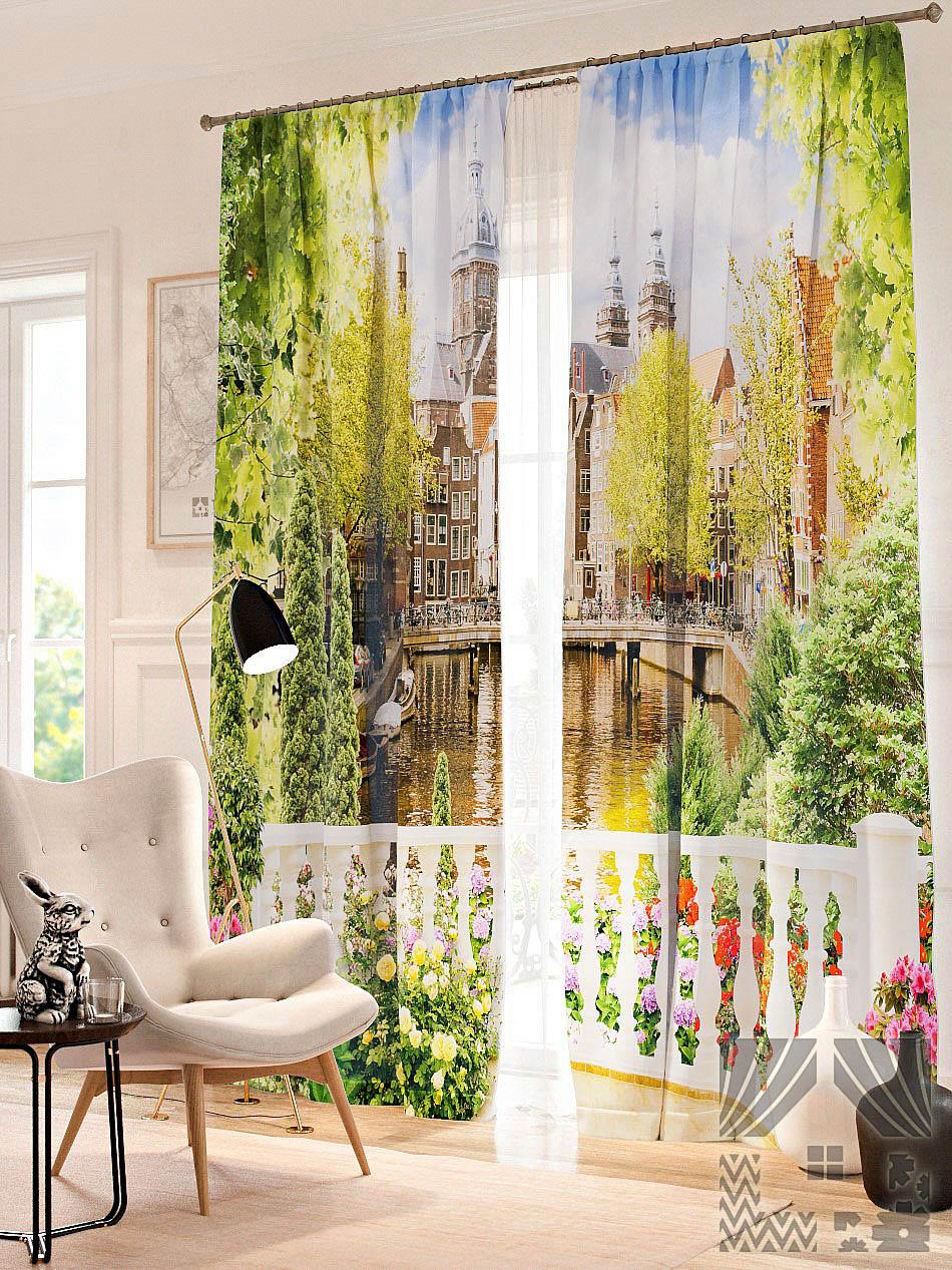 Шторы ТомДом Фотошторы Балкон с цветами