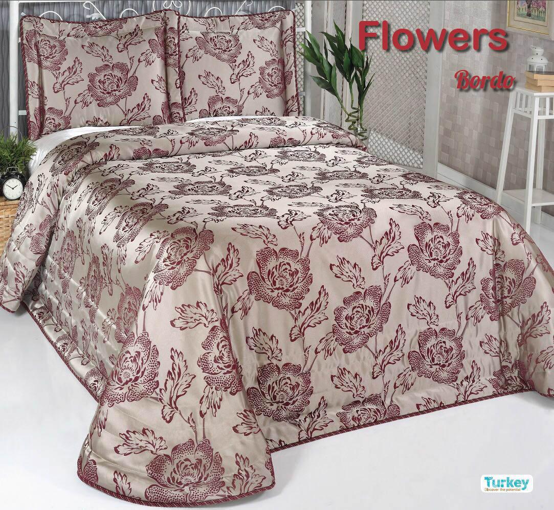 Покрывало DO'n'CO Покрывало Flowers Цвет: Бордовый (240х260 см)
