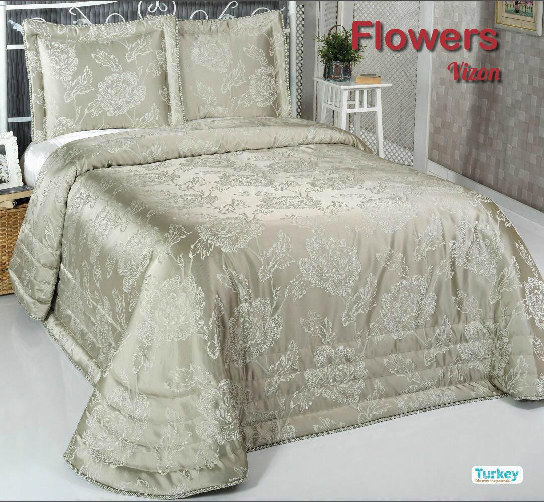 Покрывало DO'n'CO Покрывало Flowers Цвет: Зелёный (240х260 см)