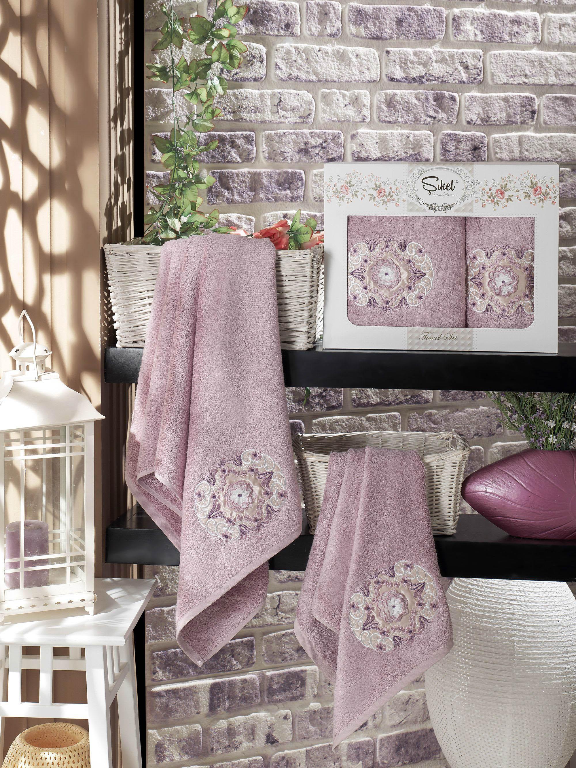 Полотенца Sikel Набор из 2 полотенец Kamelya Цвет: Лиловый набор из 2 полотенец merzuka sakura 50х90 70х140 8430 кремовый