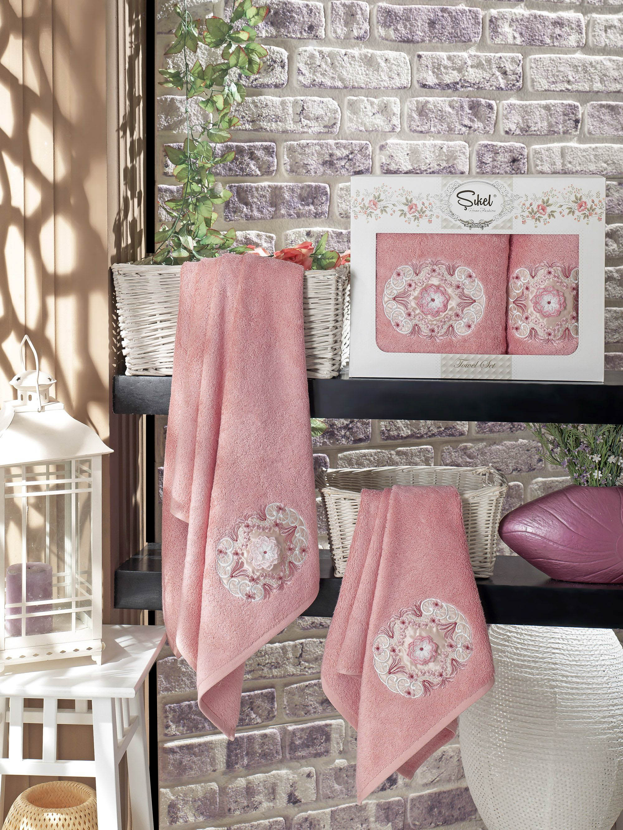 Полотенца Sikel Набор из 2 полотенец Kamelya Цвет: Пудра набор из 2 полотенец merzuka sakura 50х90 70х140 8430 кремовый