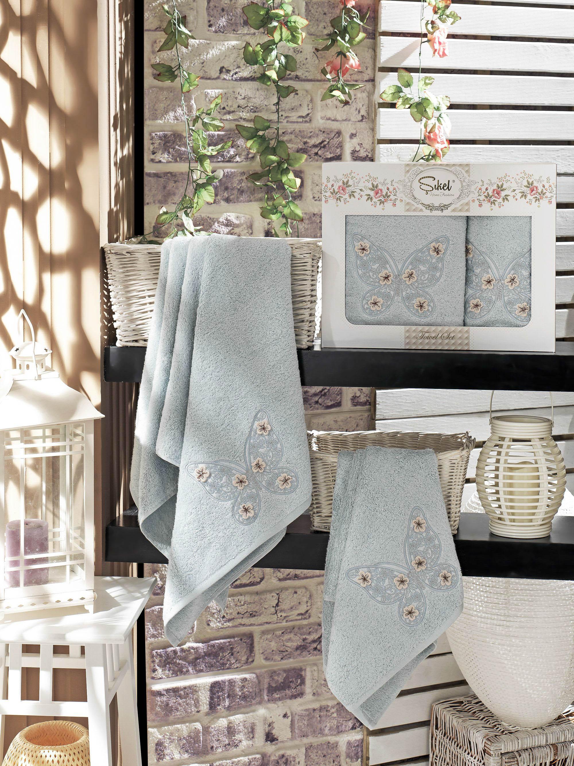 Полотенца Sikel Набор из 2 полотенец Kasimpati Цвет: Голубой набор из 2 полотенец merzuka sakura 50х90 70х140 8430 голубой
