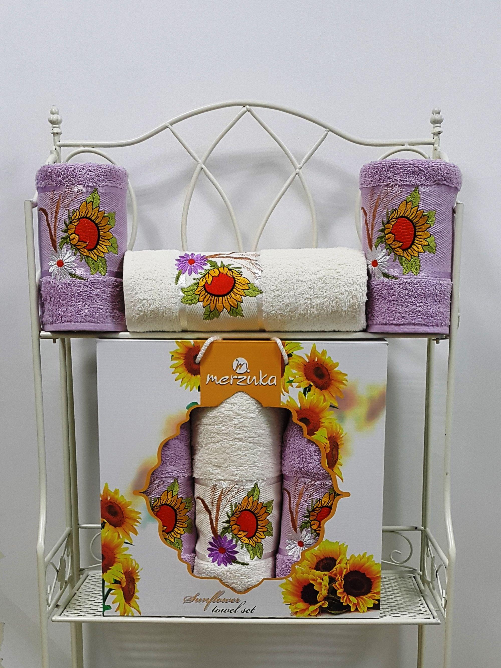 где купить Полотенца Oran Merzuka Полотенце Sunflower Цвет: Сиреневый (Набор) по лучшей цене