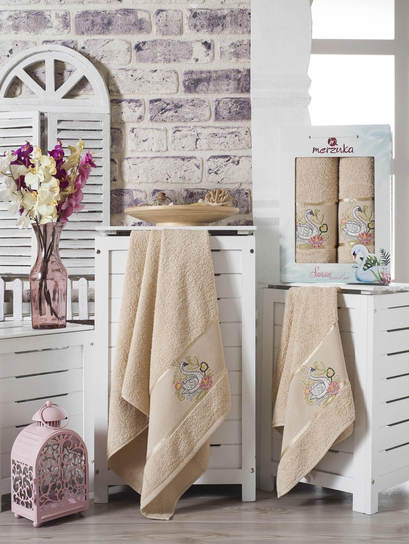 Полотенца Oran Merzuka Набор из 2 полотенец Swan Цвет: Бежевый pink swan 100