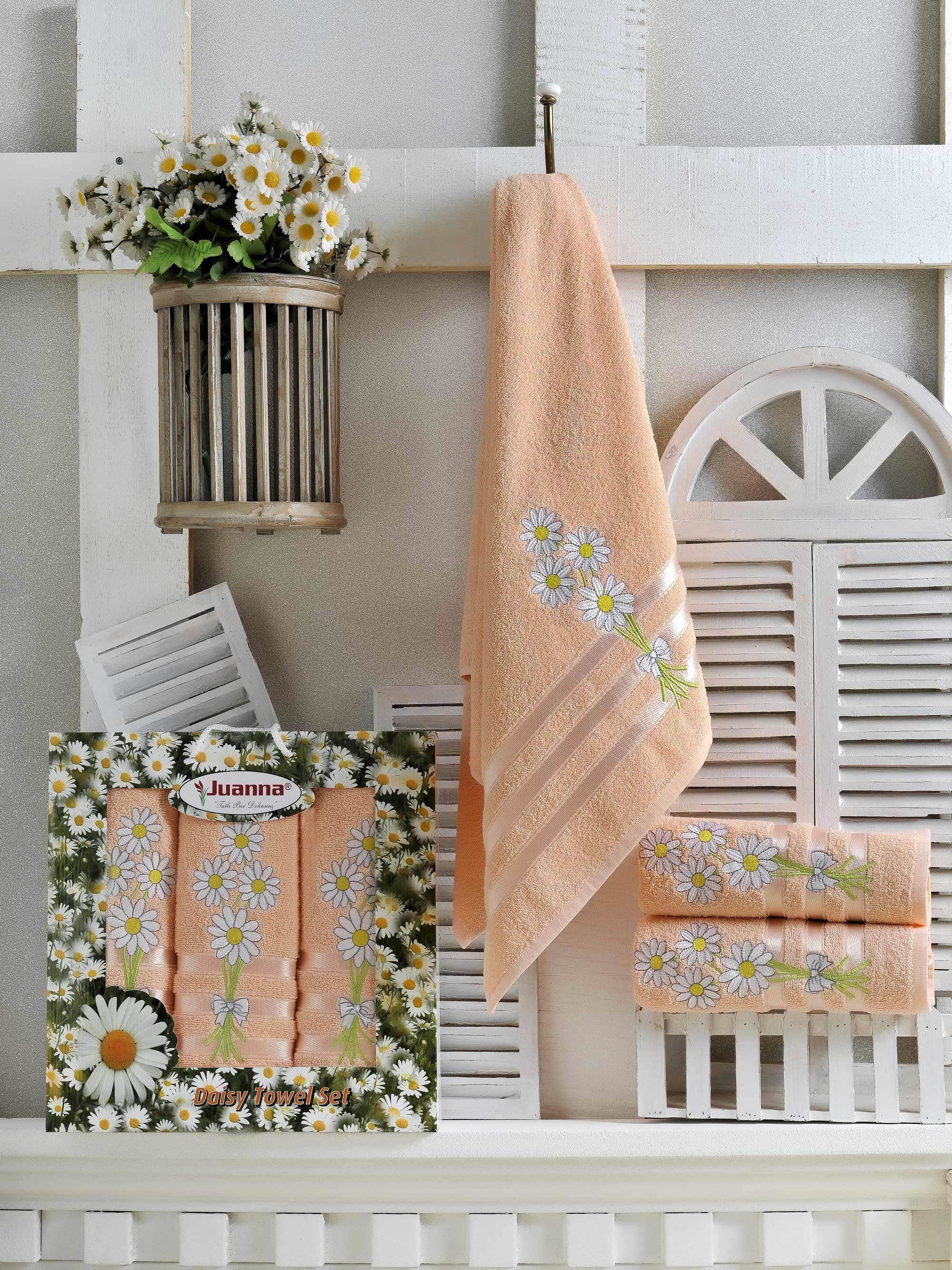 где купить Полотенца Juanna Набор из 3 полотенец Papatya Цвет: Персиковый по лучшей цене