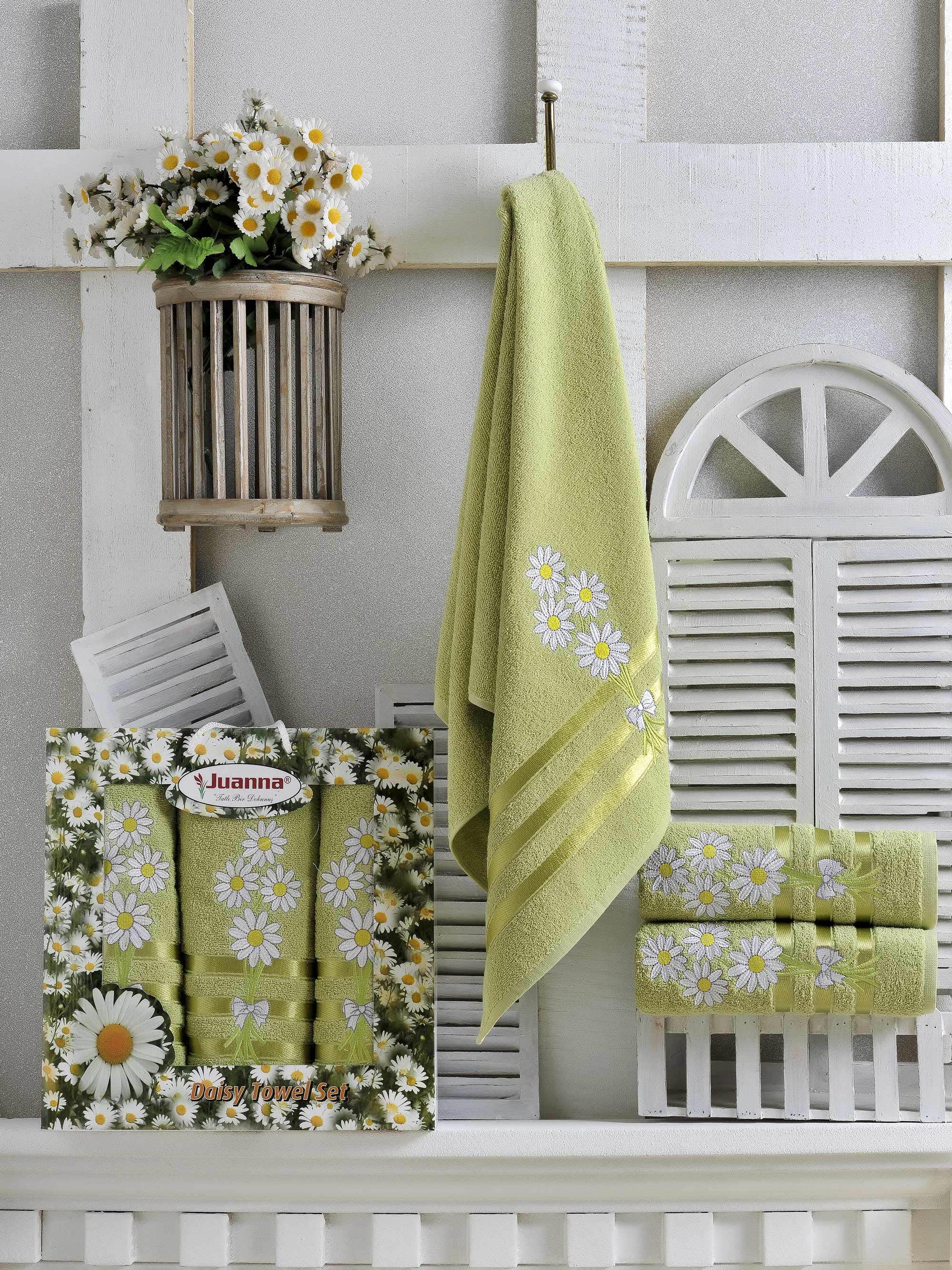 где купить Полотенца Juanna Набор из 3 полотенец Papatya Цвет: Зелёный по лучшей цене