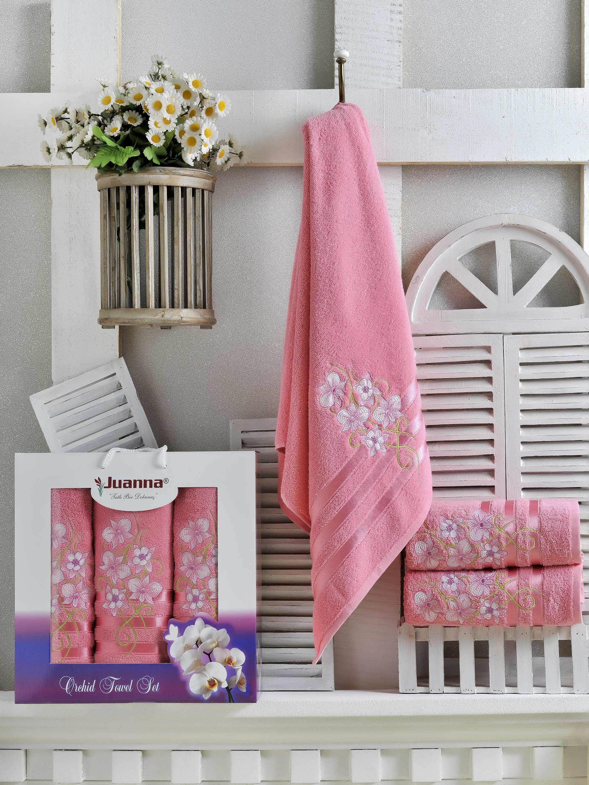 Полотенца Juanna Набор из 3 полотенец Orkide Цвет: Брусничный набор из 2 полотенец merzuka sakura 50х90 70х140 8430 кремовый